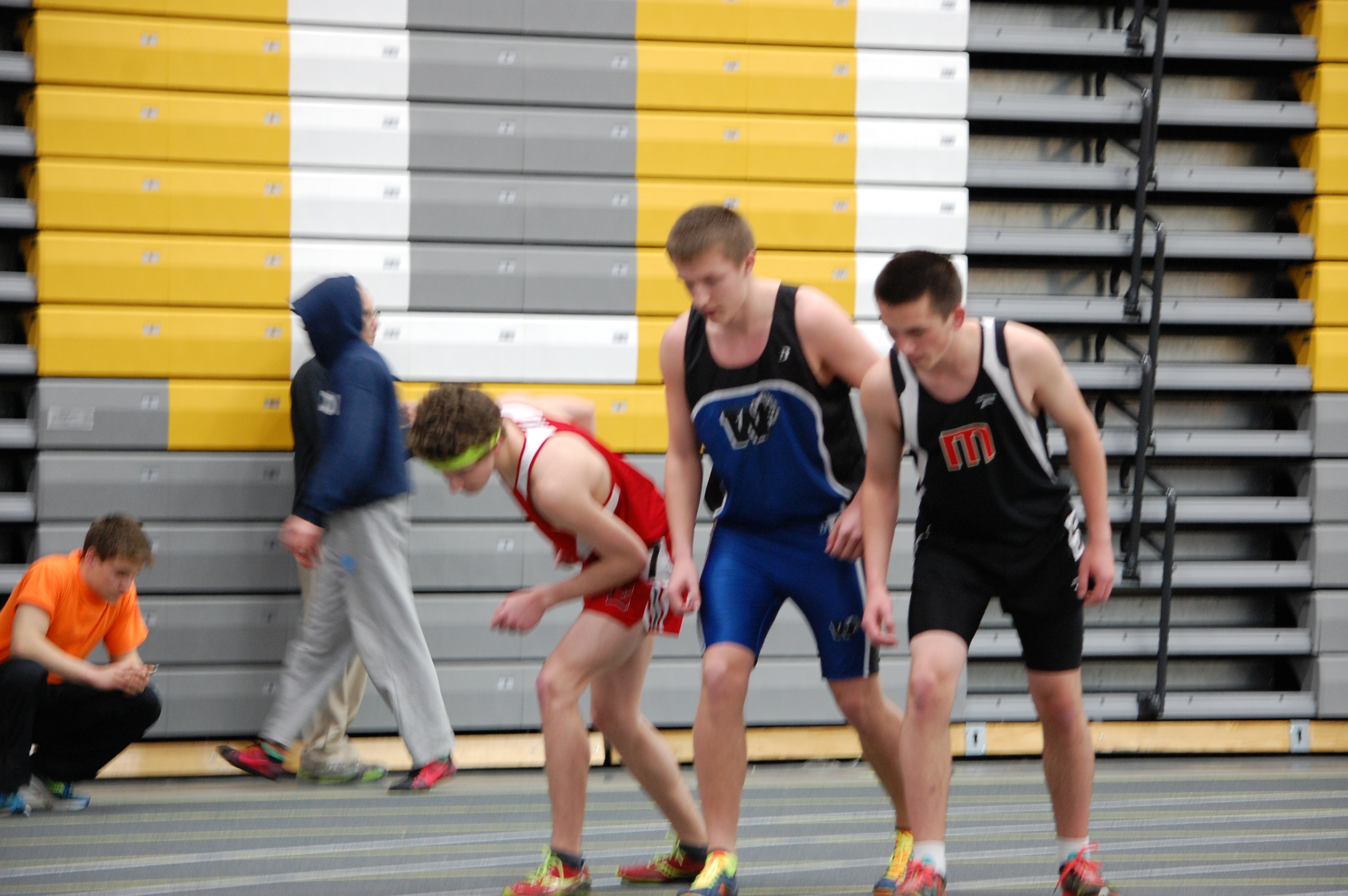 Junior Colin Bores stands at the ready for the 800 meter race.