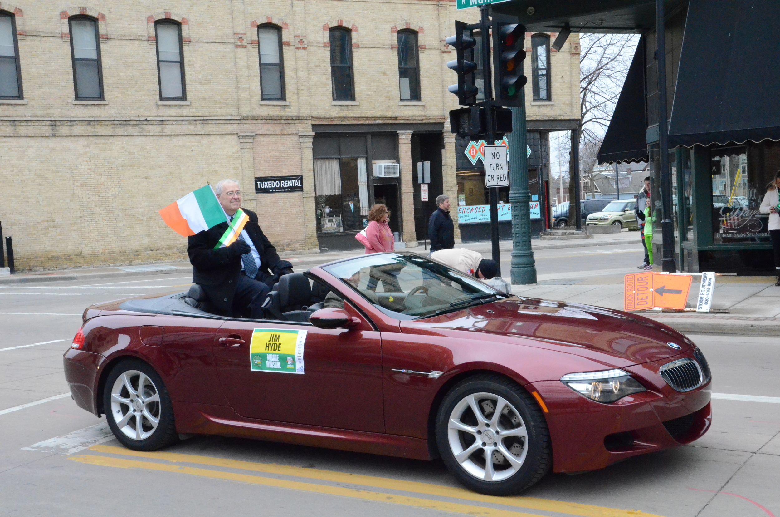 im Hyde is shown during the parade riding in a convertible. Hyde is a descendant of Ireland's first President, and tours Wisconsin speaking about Irish history and traditions.