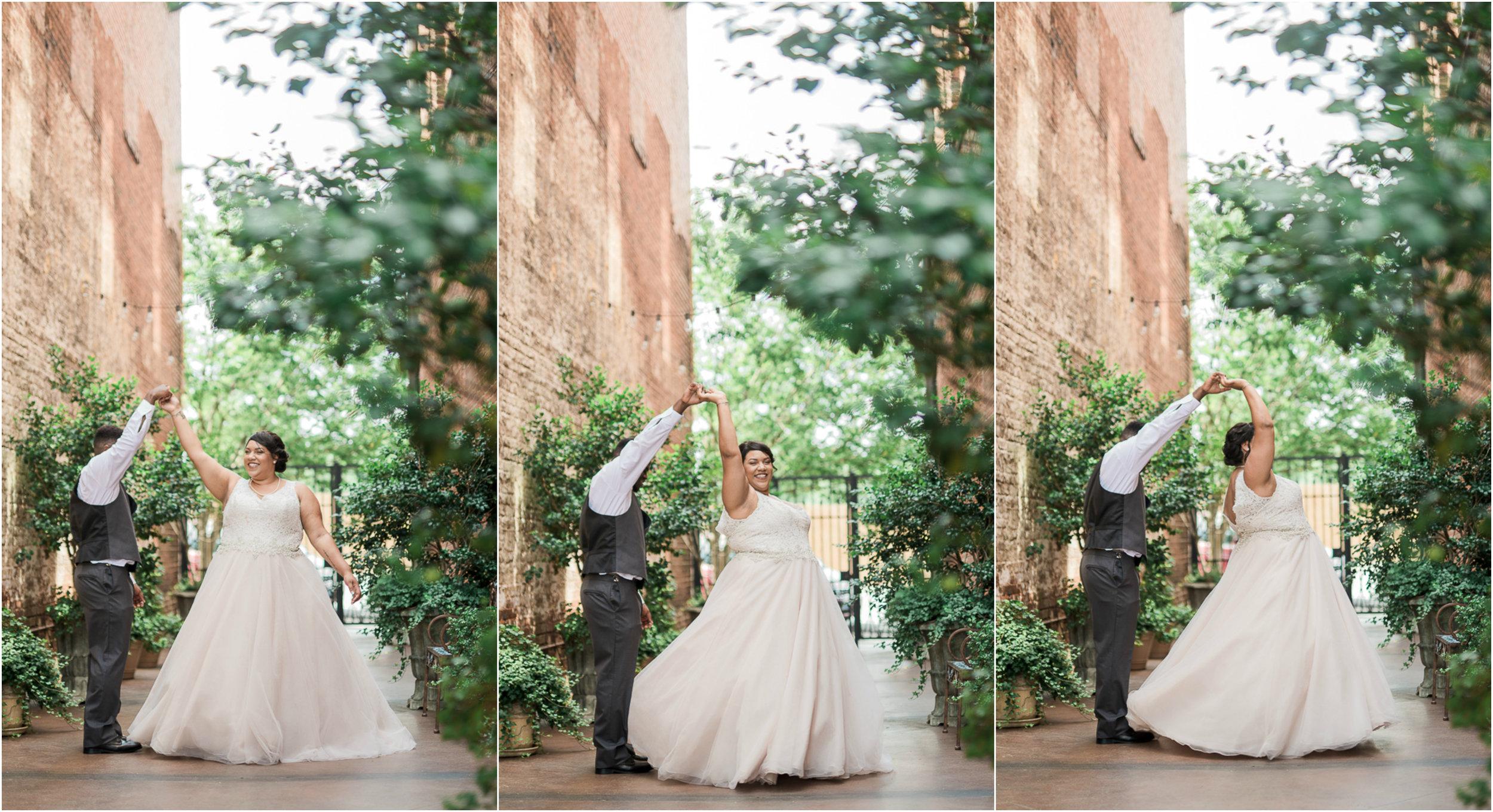 Wedding Portraits, Wedding Dance, Blush Wedding Dress, Bride, Groom, Court Yard, 0004.jpg