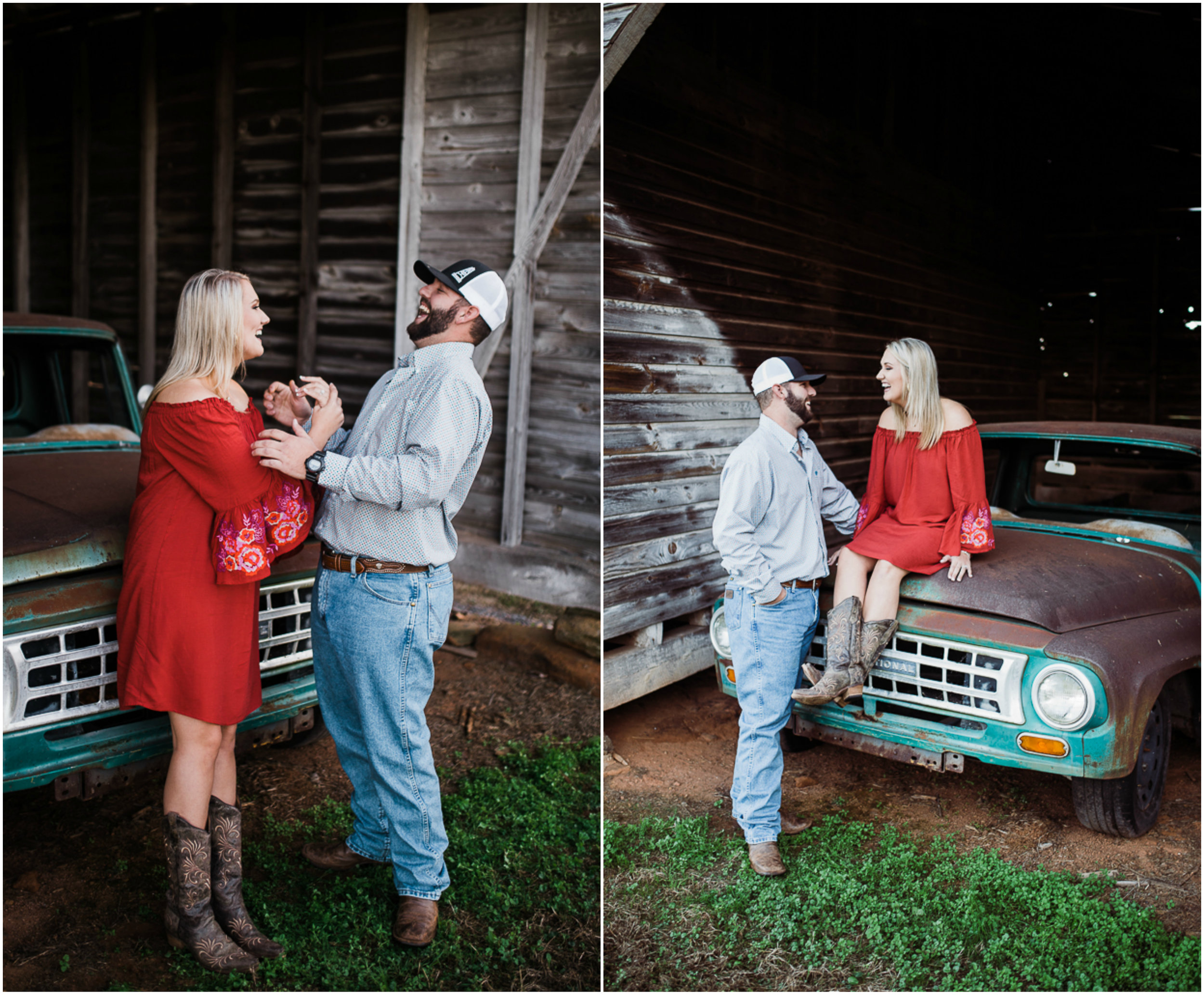 Fall Engagement Photos, Red Dress, Barn Session, Rustic.jpg