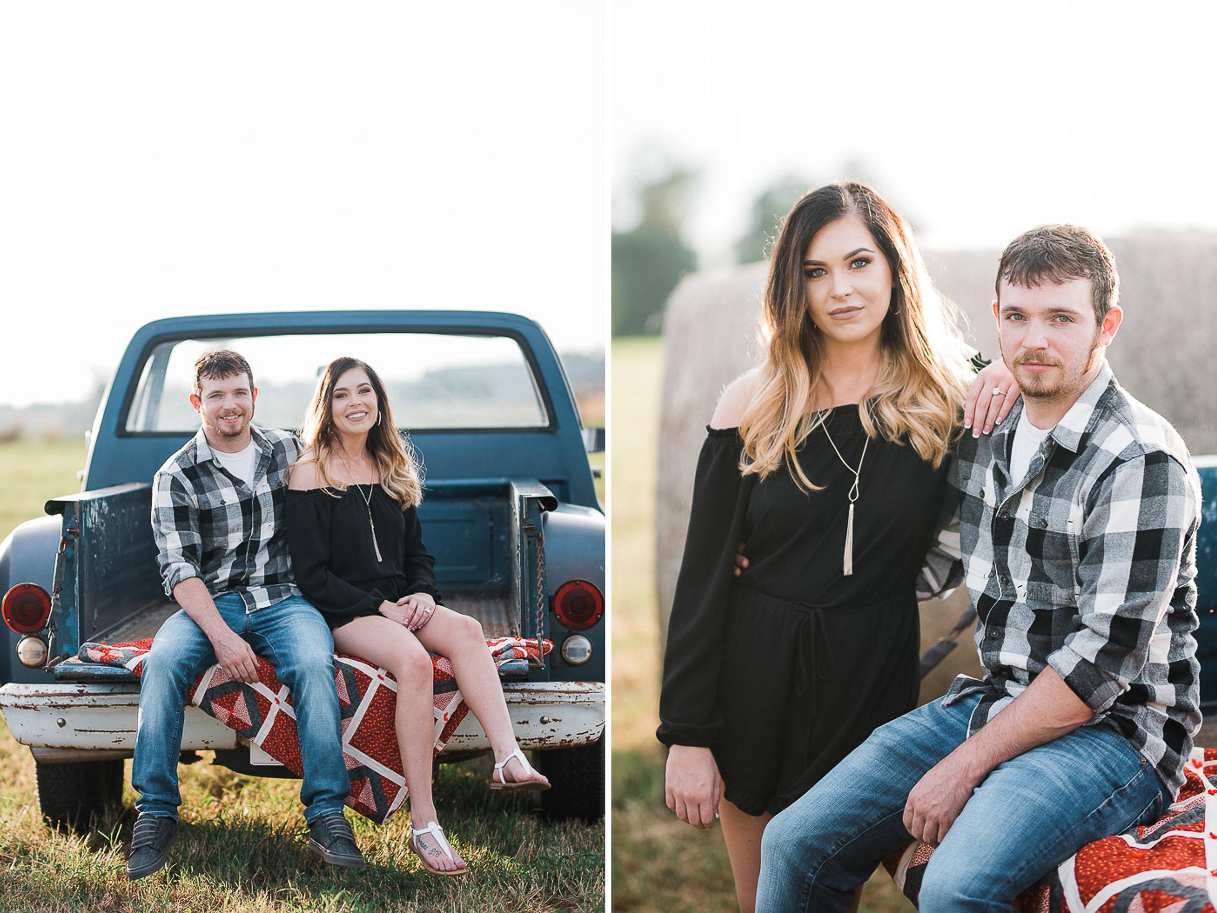 Field Engagement Portraits, Truck, Sunset, Dancing, 02.jpg