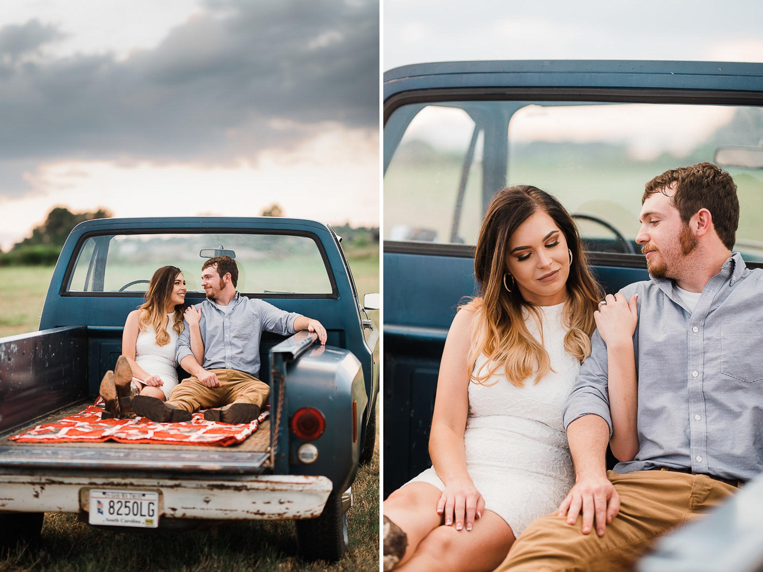 Field Engagement Portraits, Truck, Sunset, Dancing, 08.jpg