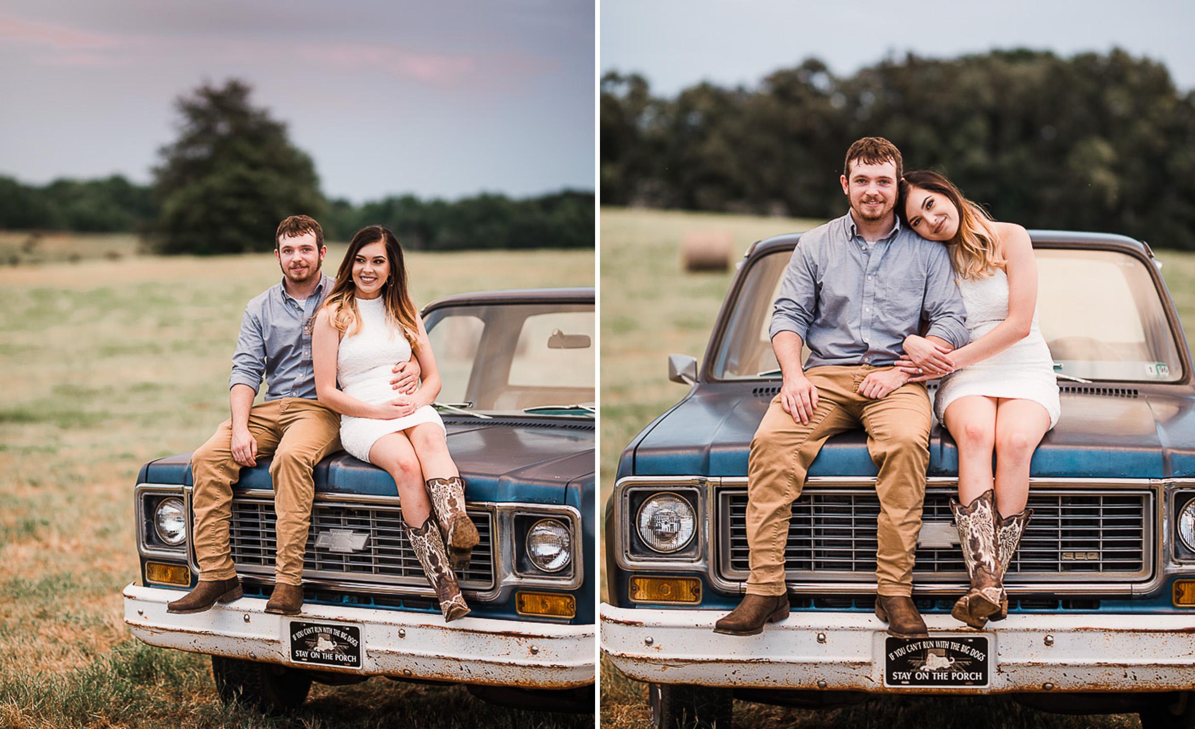 Field Engagement Portraits, Truck, Sunset, Dancing, 13.jpg
