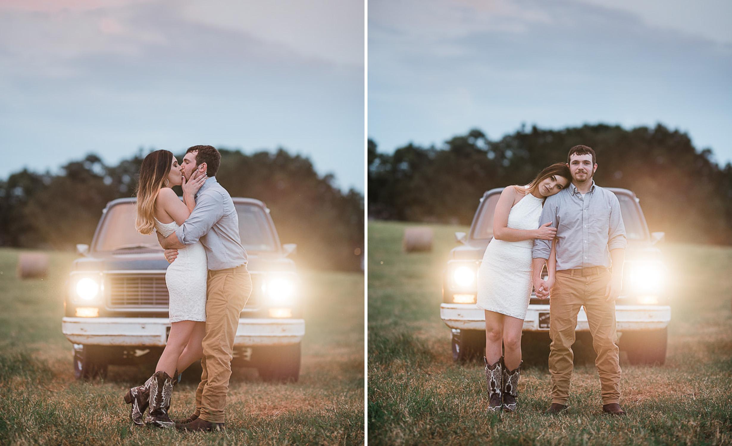 Field Engagement Portraits, Truck, Sunset, Dancing, 16.jpg