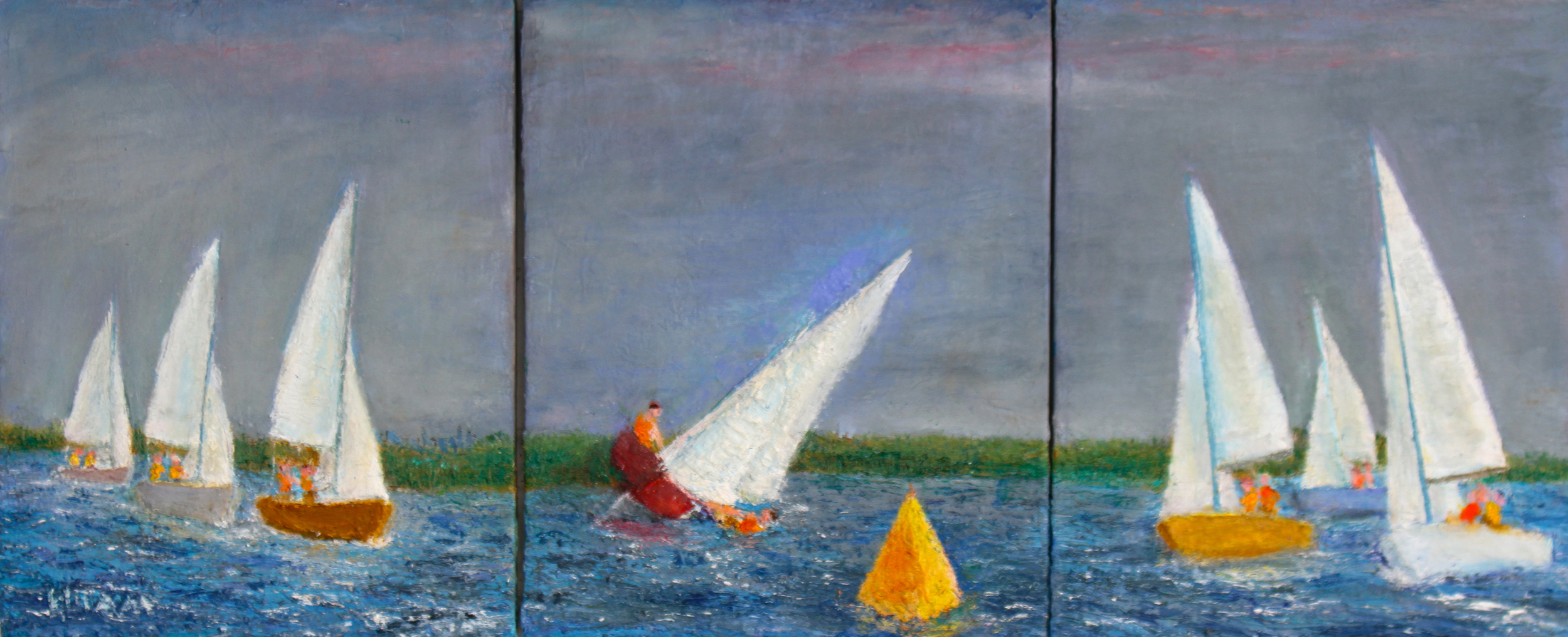 DickElam Capsize at Windward Mark_Approx 14x36 triptych_oil.jpg