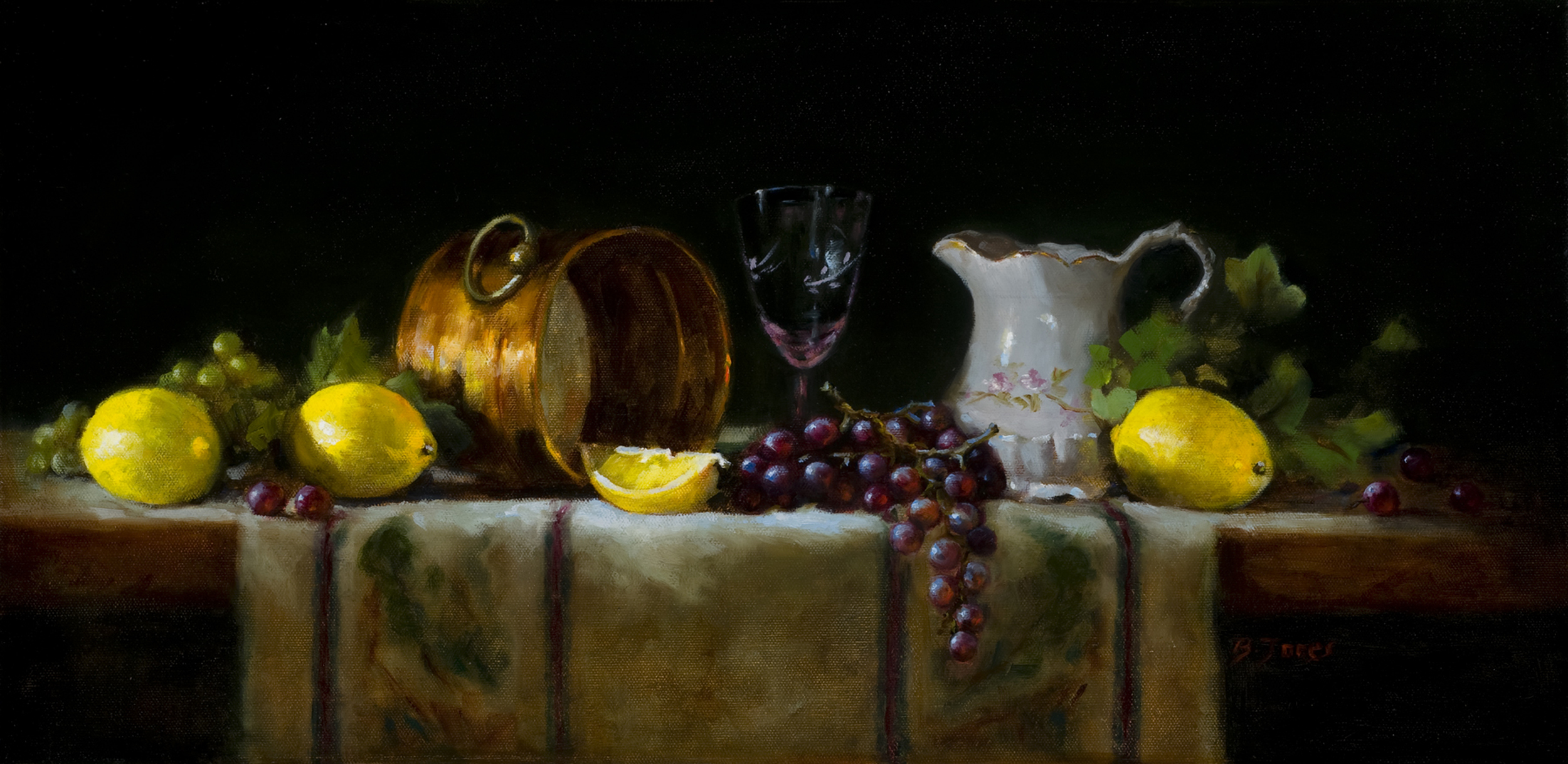 Still Life with Copper and Lemons-12x24-oil on linen-Barbara A Jones.jpg