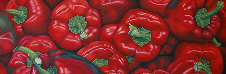 Russ Mackensen Red Peppers 36 x 12 Oil Pastel uart 400.jpg