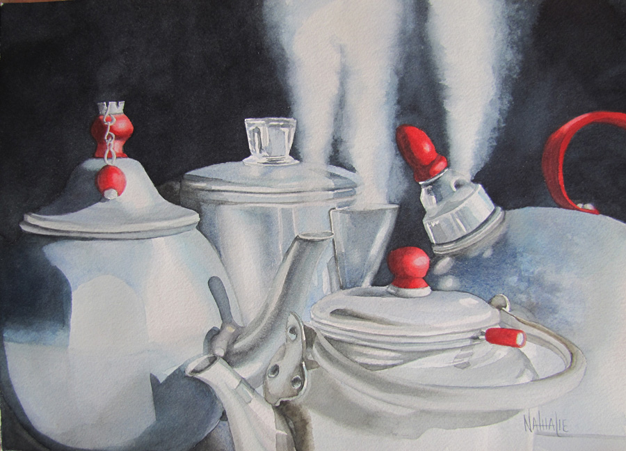 """THIRD PLACE : """"Blowing Off Steam"""" by Nathalie Kelley  Watercolor"""
