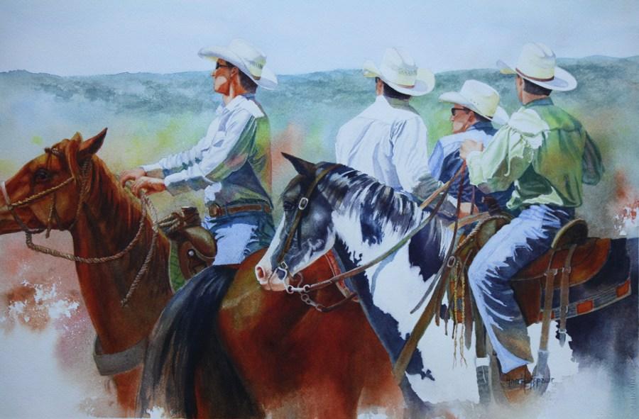 """HM """"Some Wranglers"""" by Anne Hoffpauir Watercolor"""