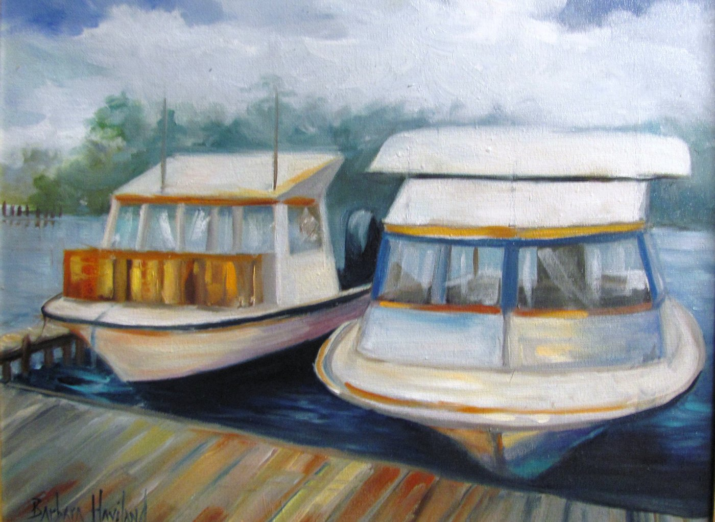 Barbara Haviland, Two Boats, oil