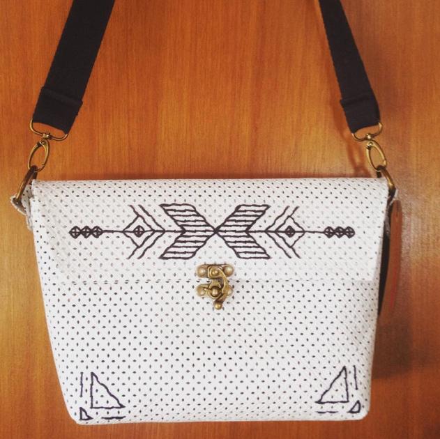 Handbag. Goat Leather, Cotton, & Antique Brass.