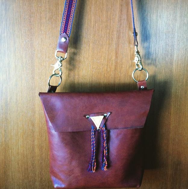 Handbag. Leather, Brass, Handwoven Strapping.