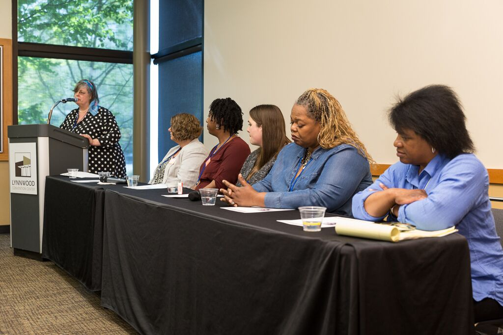 Breakout session with YWCA's Housing Services Team. William Wright photo.