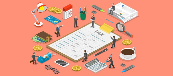 94767690 - tax payment flat isometric vector concept.