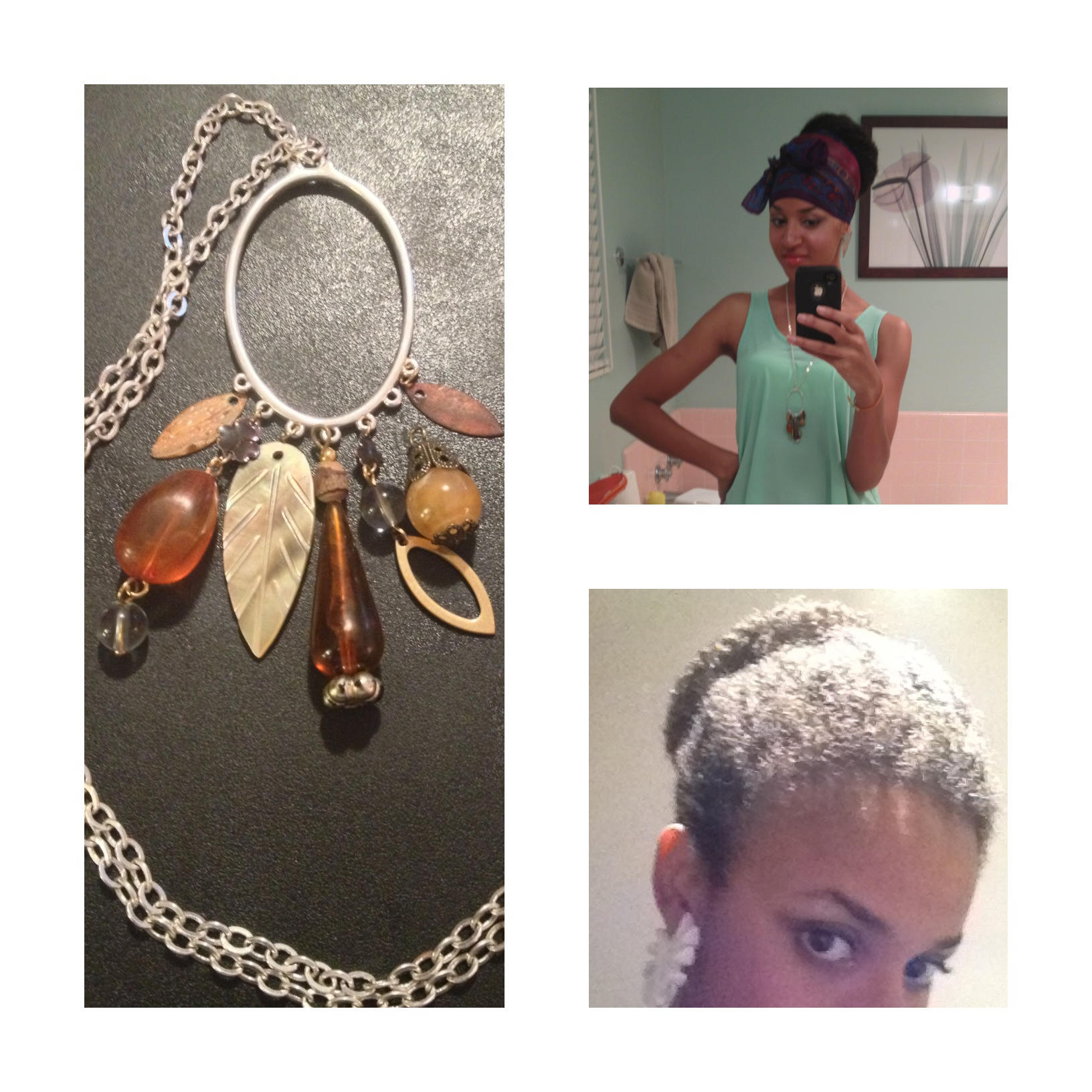 Faux Bun and Recycled Necklace Parts