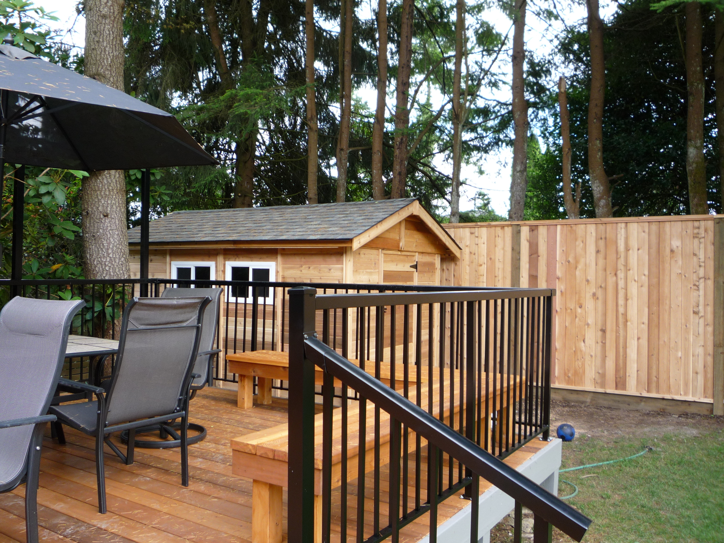 Cedar Deck, Aluminum Railings, Shed, and Custom Fence in North Vancouver