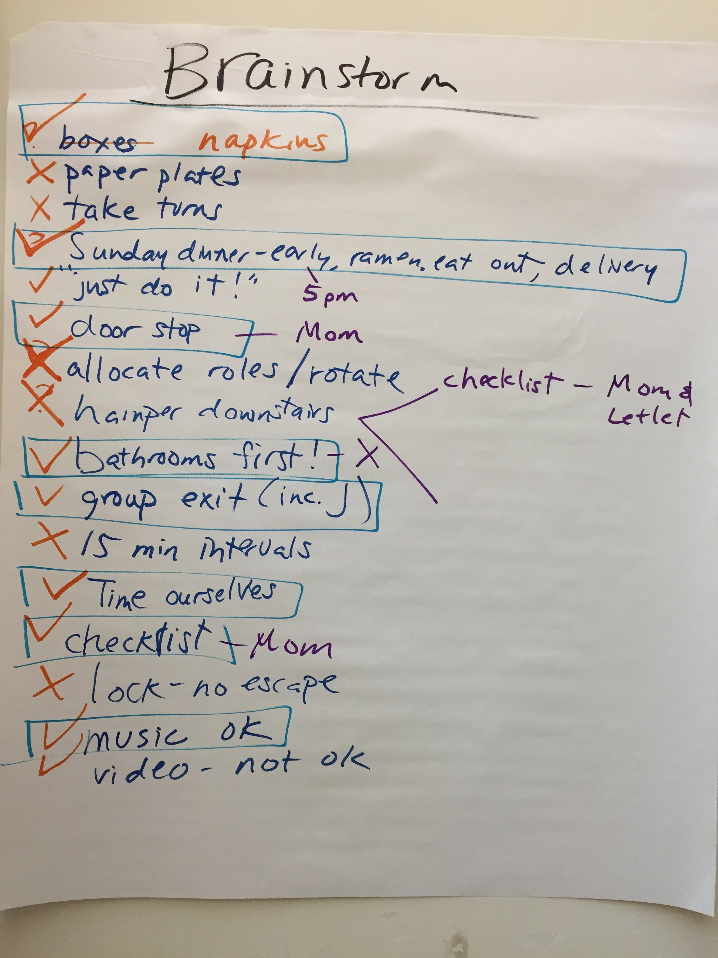 Next steps: we brainstormed, evaluated and chose our solutions. After trying themout the following Sunday, we checked back in with each other.