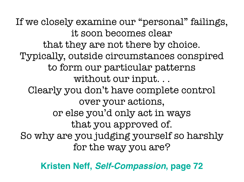 I love this quote. It's not about letting ourselves off the hook. I mean, you're reading this blogpost, aren't you? It's about softening the edge of anger we hold toward ourselves and growing some clarity that we are also products of our upbringing. From that calmer space of self-acceptance, we are better able to grow as parents.