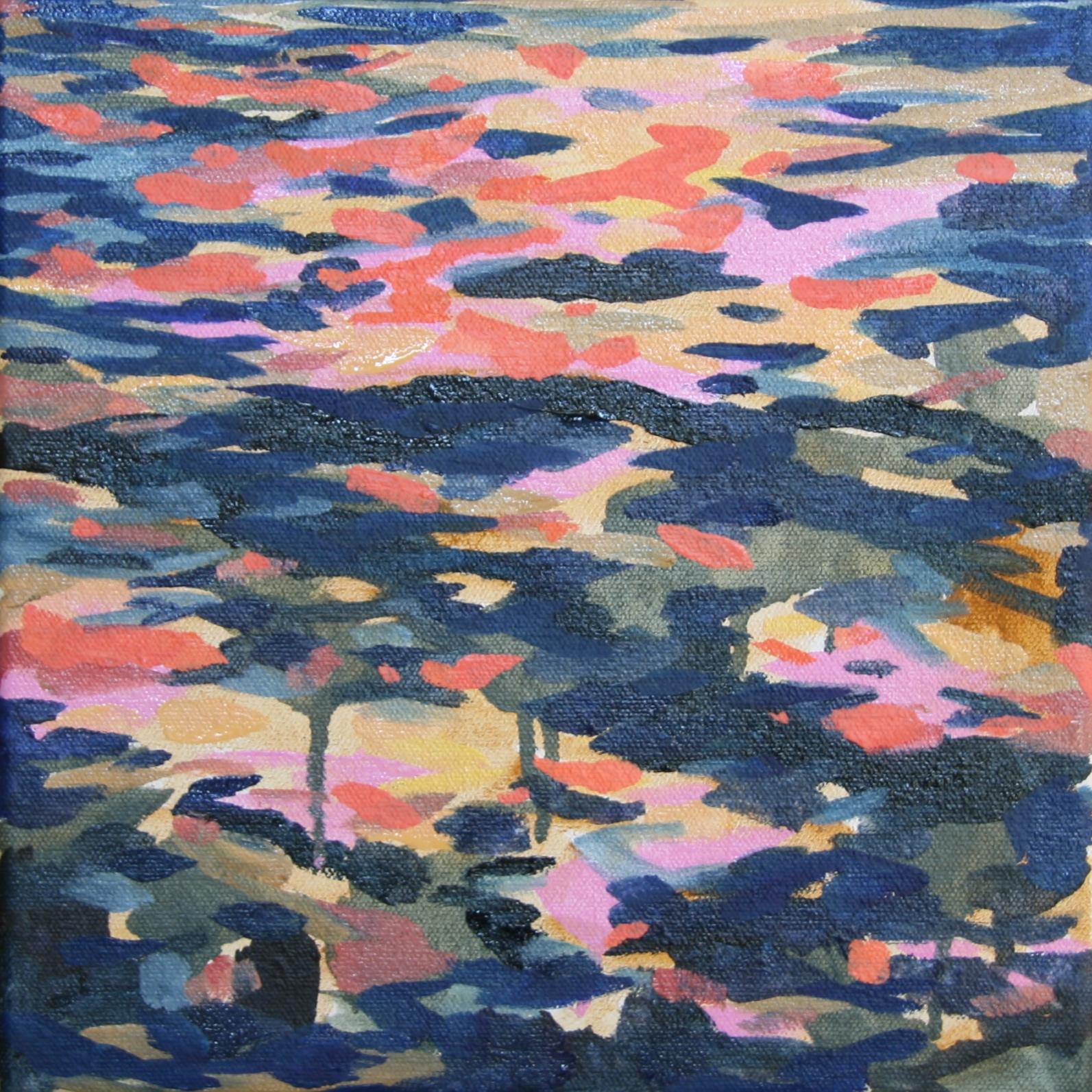 "Sundown Study. 2014. Water soluble oil on canvas. 10"" x 10"""