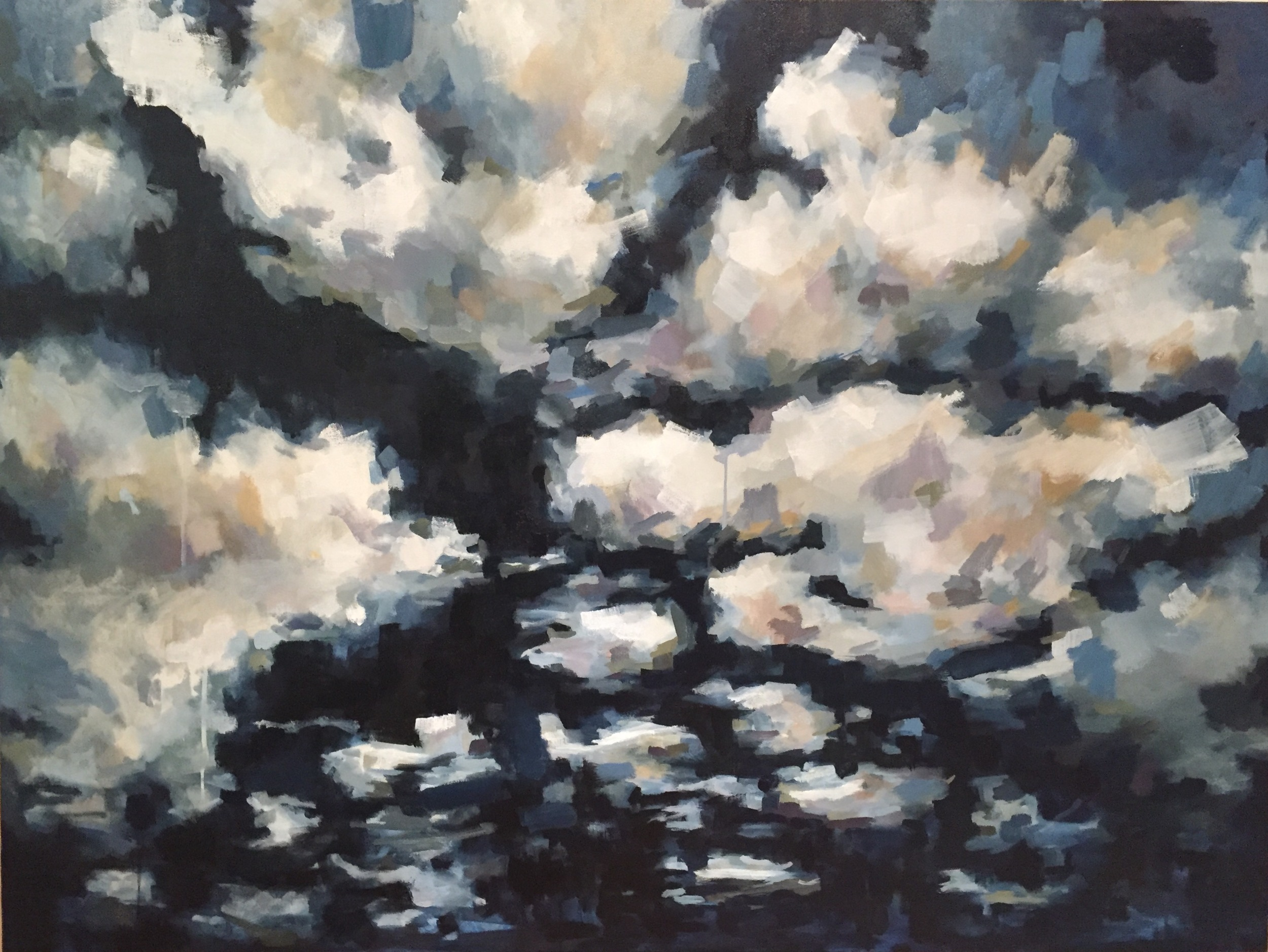 """Into the Night, 36"""" x 48"""", water soluble oil on canvas"""