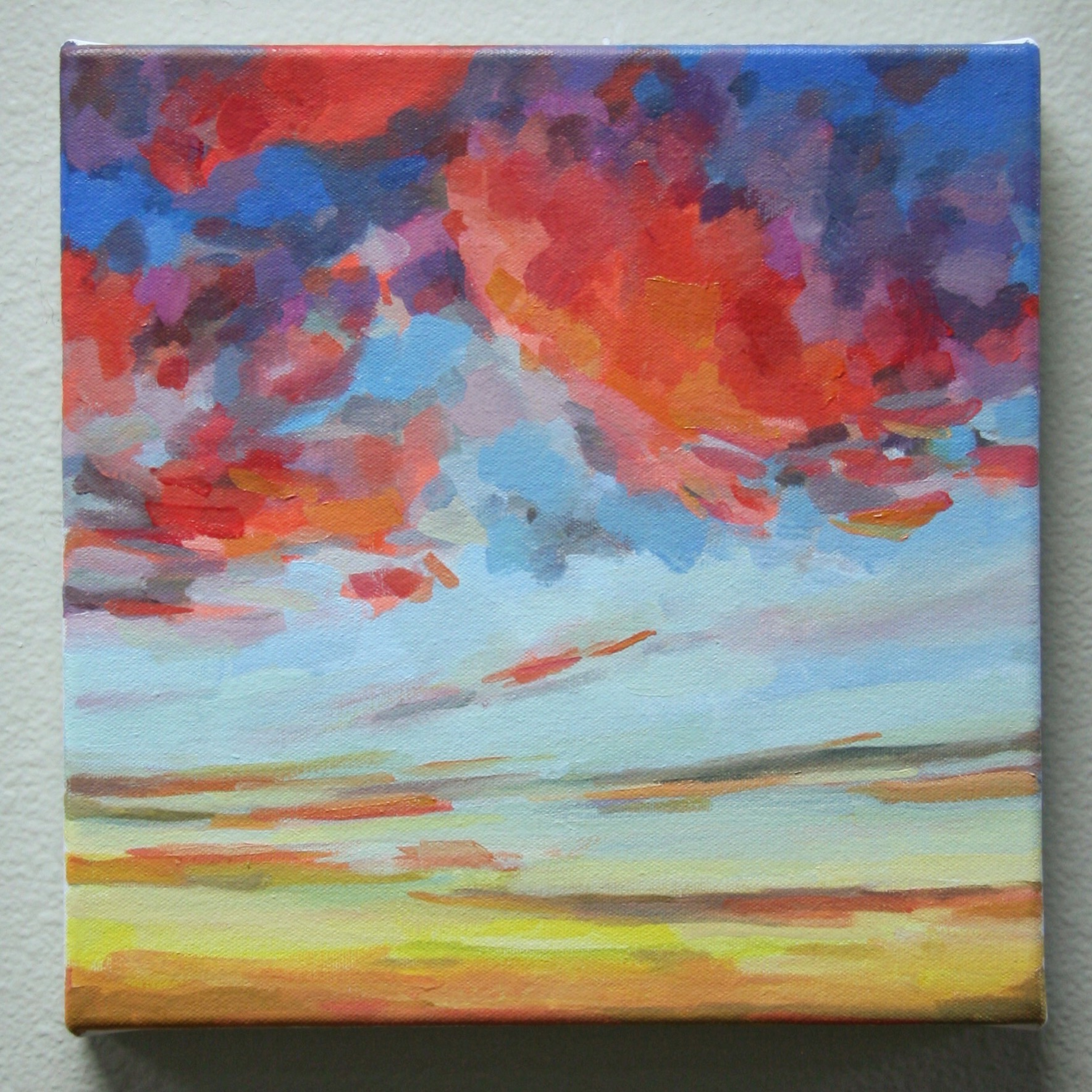 """'Sorbet Sky'. 2015. Water solube oil on canvas. 12"""" x 12"""""""