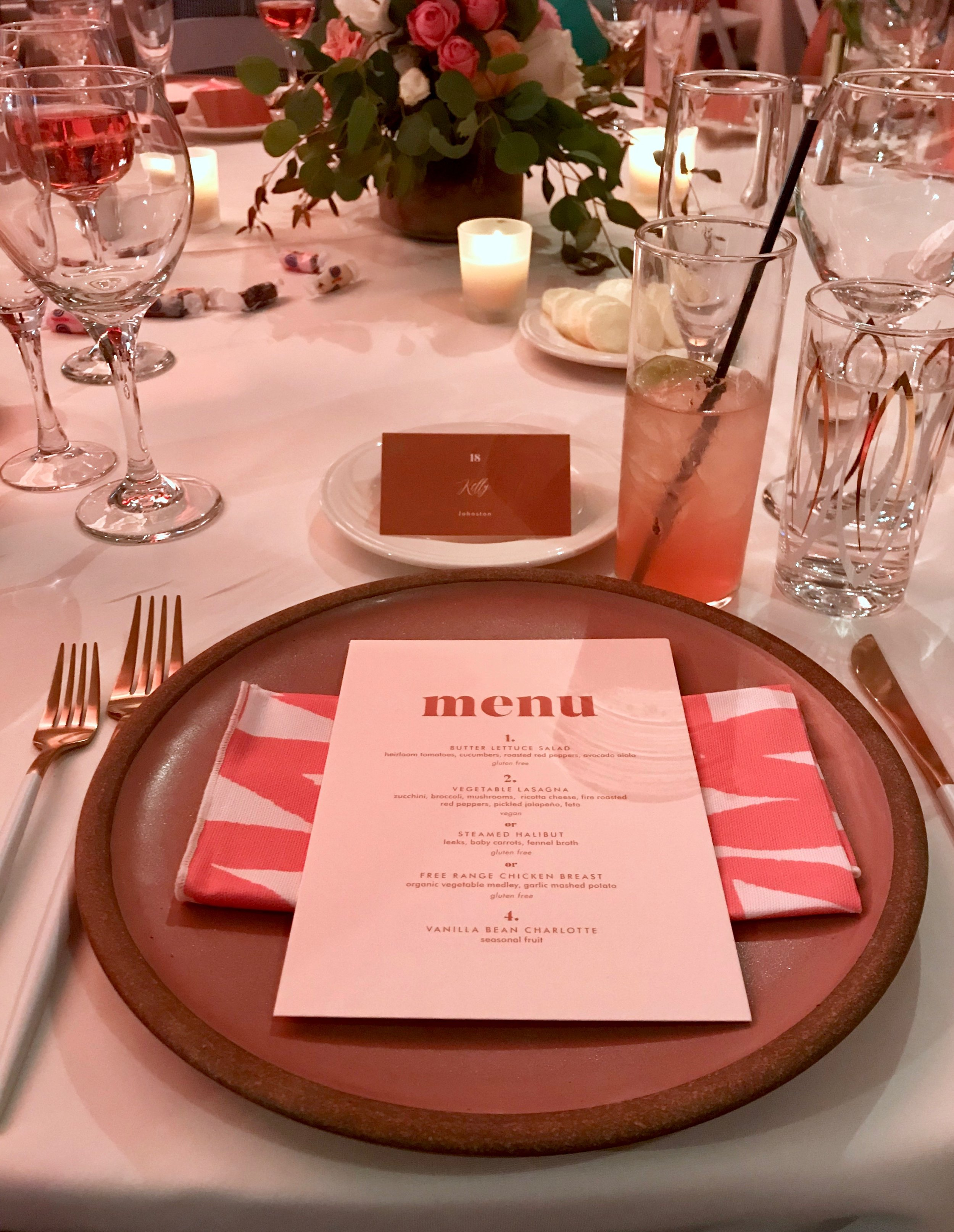 The beautiful place settings at the awards ceremony dinner - we all loved the Minted napkins!