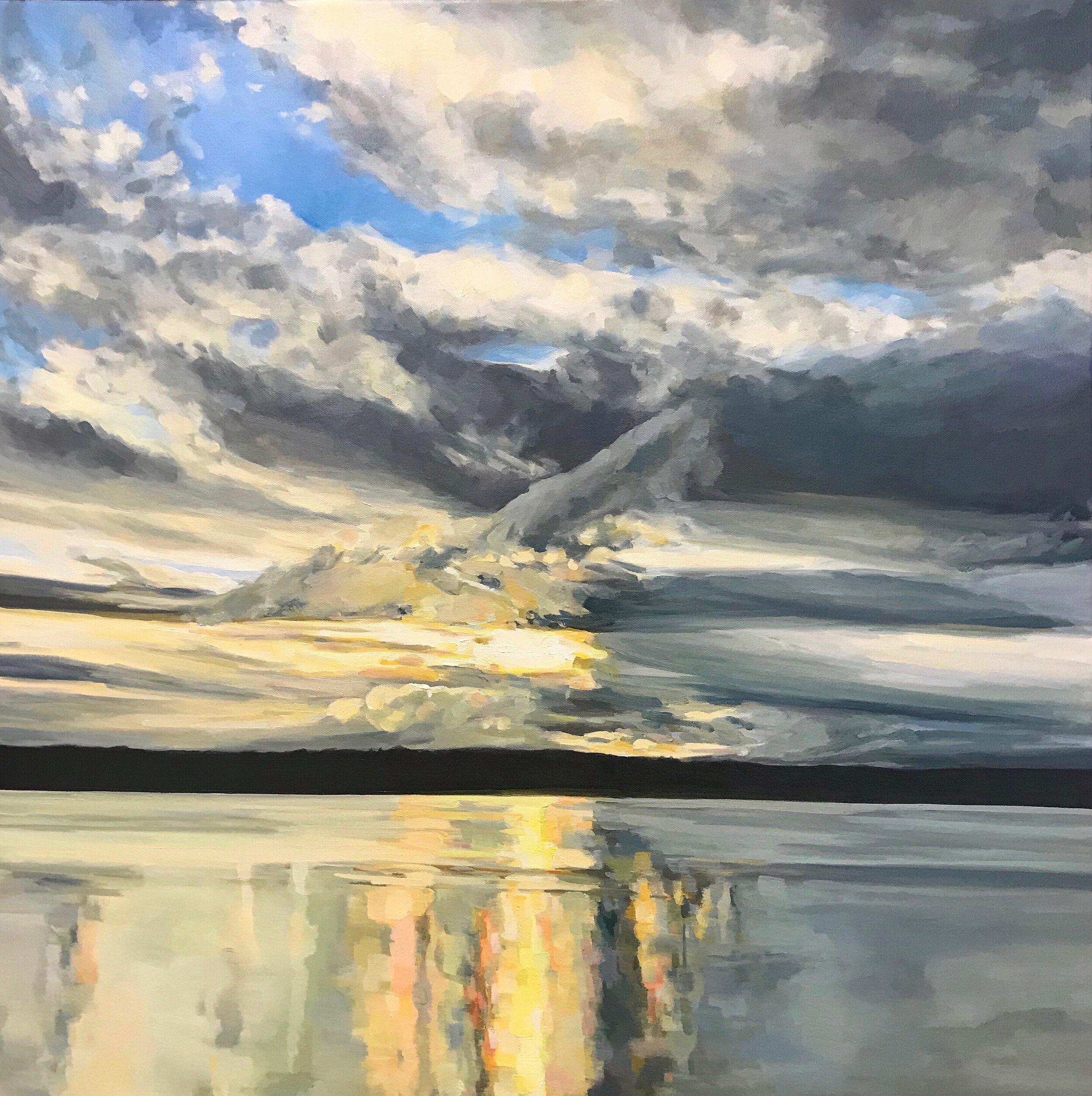 """'Winter Solstice'  2019  30"""" x 30""""  water soluble oil on canvas  sold"""