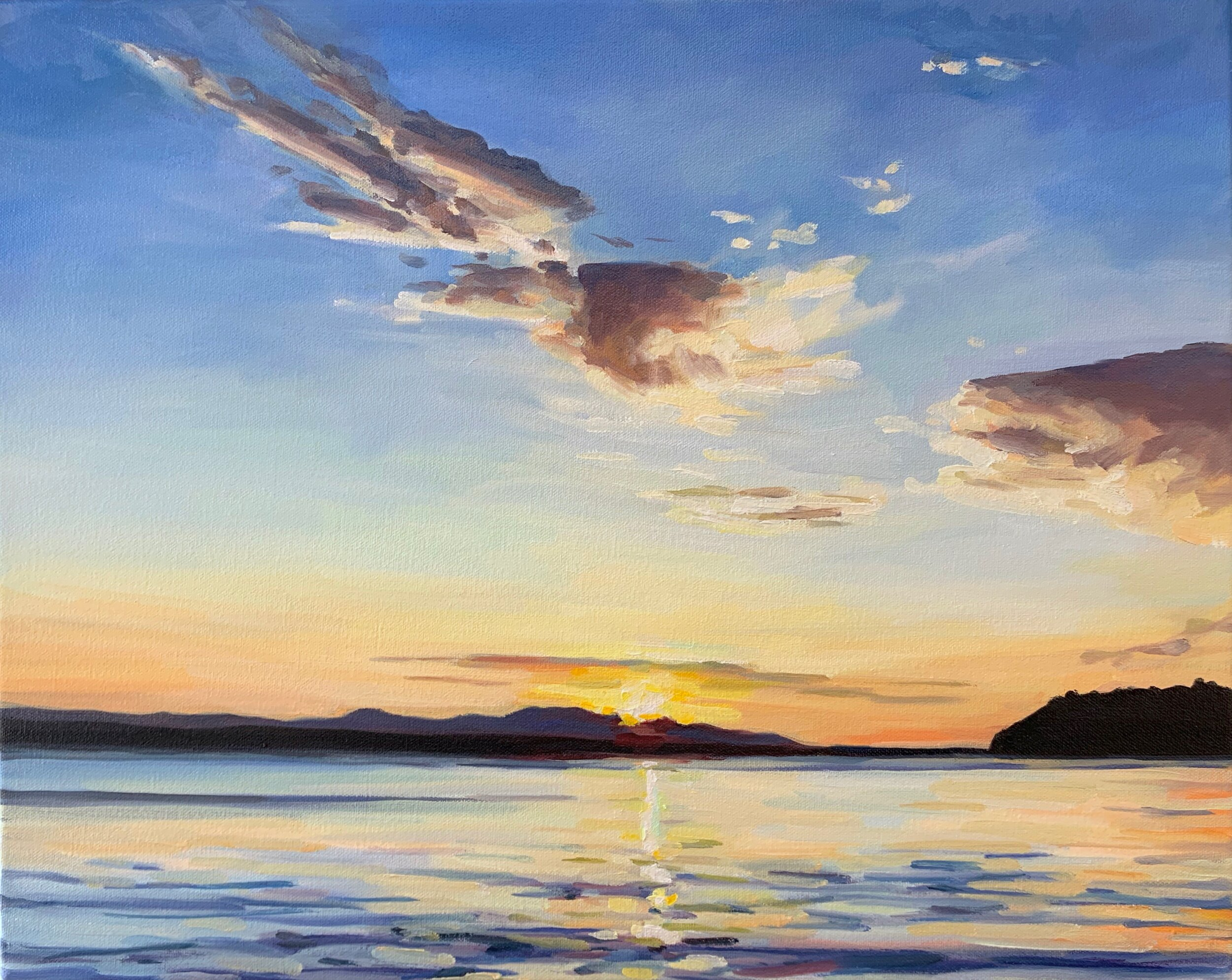"""'Seahurst Sunset'  2019  20"""" x 16""""  water soluble oil on canvas  sold"""
