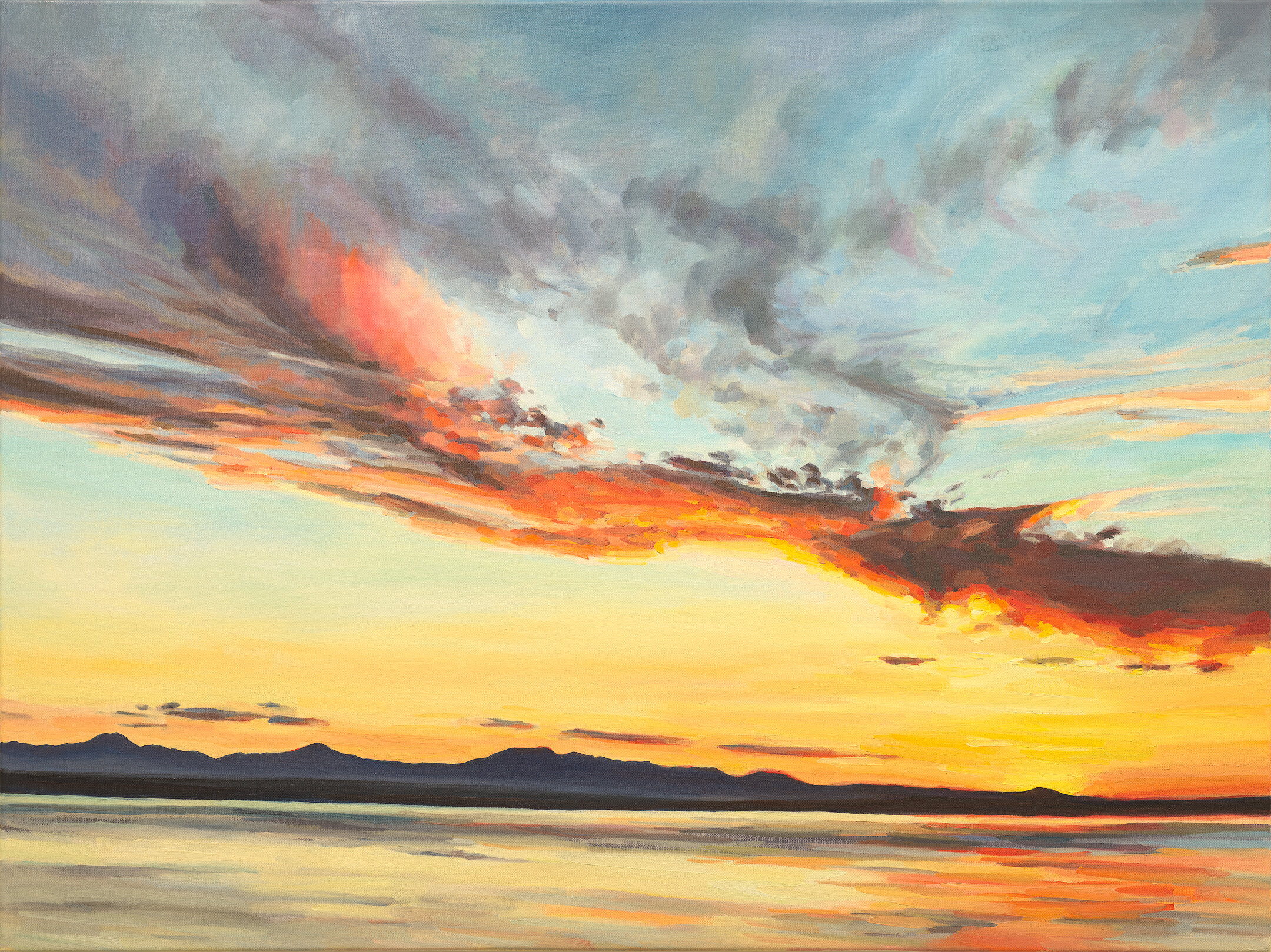 """'Alight'  2019  40"""" x 30""""  water soluble oil on canvas  sold"""
