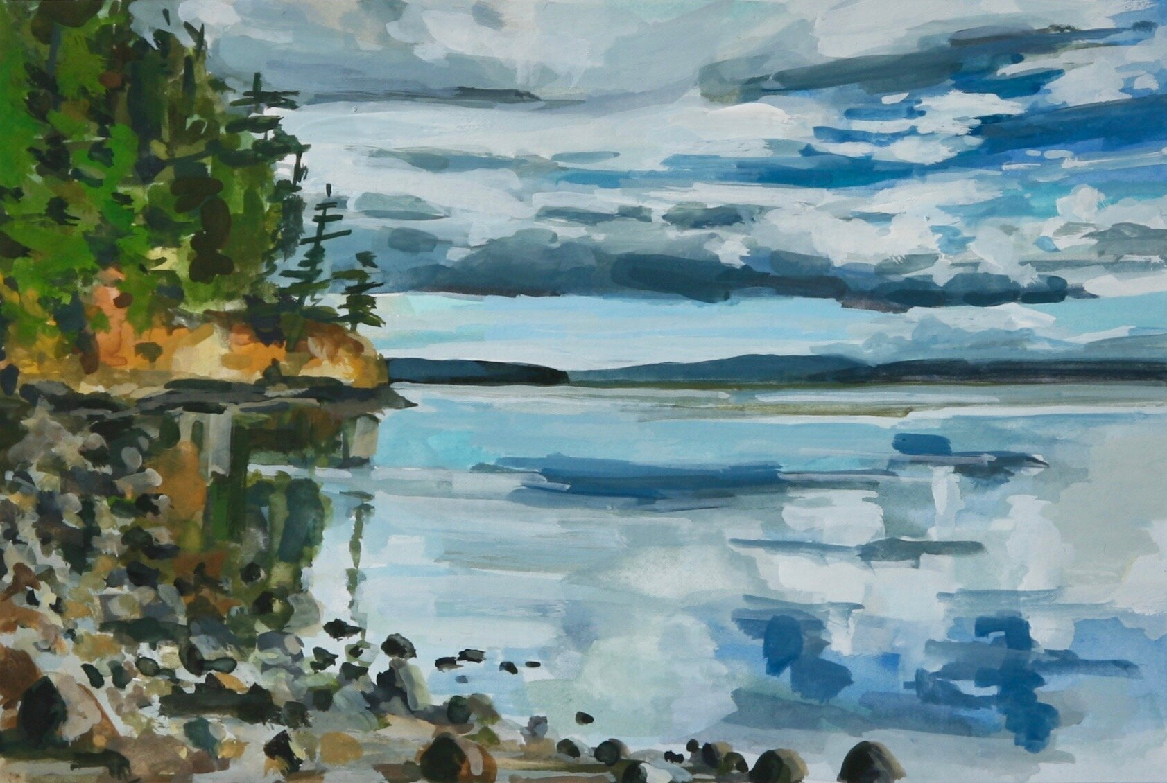 """'Rocky Cove'  2019  6"""" x 4""""  gouache on paper  sold"""