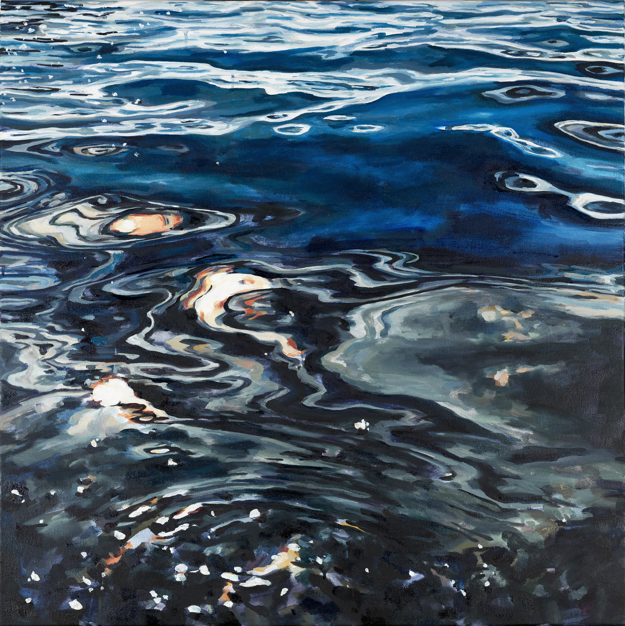 """'Silver Sea'  2017  30"""" x 30""""  water soluble oil on canvas  sold"""