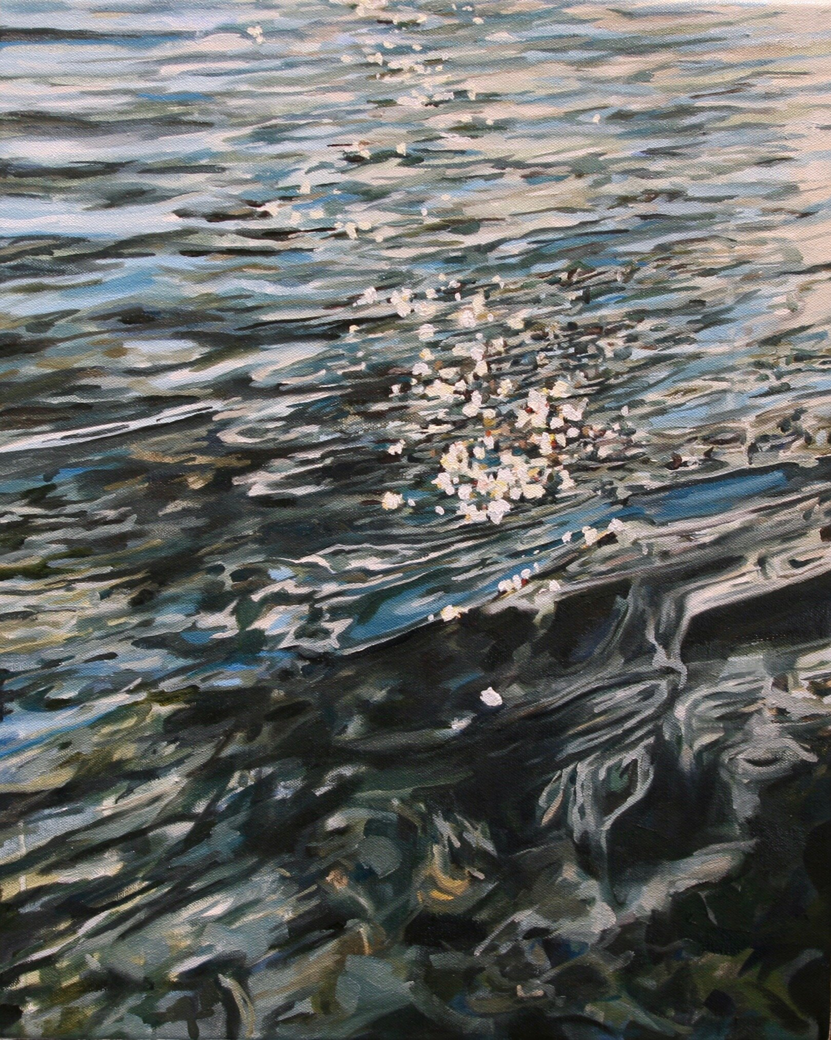 """'Quicksilver'  2017  16"""" x 20""""  water soluble oil on canvas  sold"""