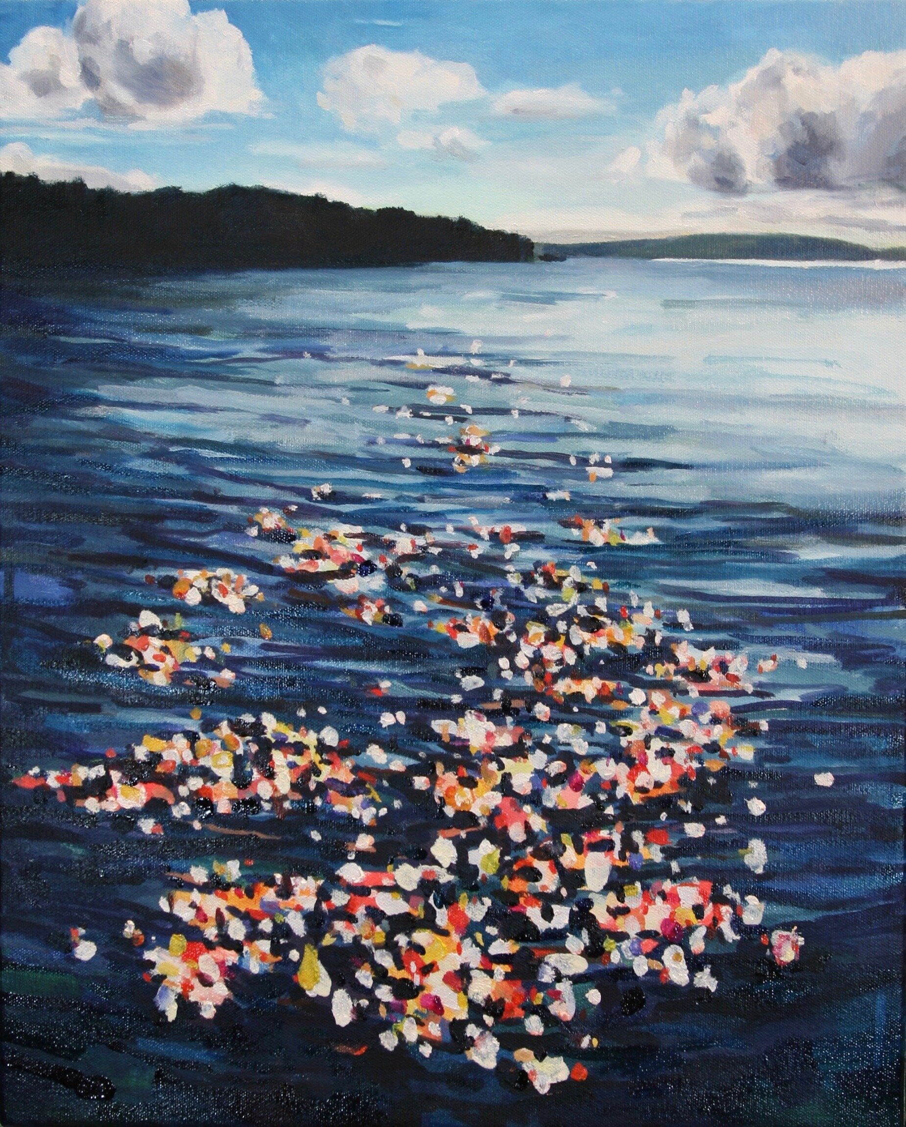 """'Jackson Cove II'  2017  16"""" x 20""""  water soluble oil on canvas  sold"""