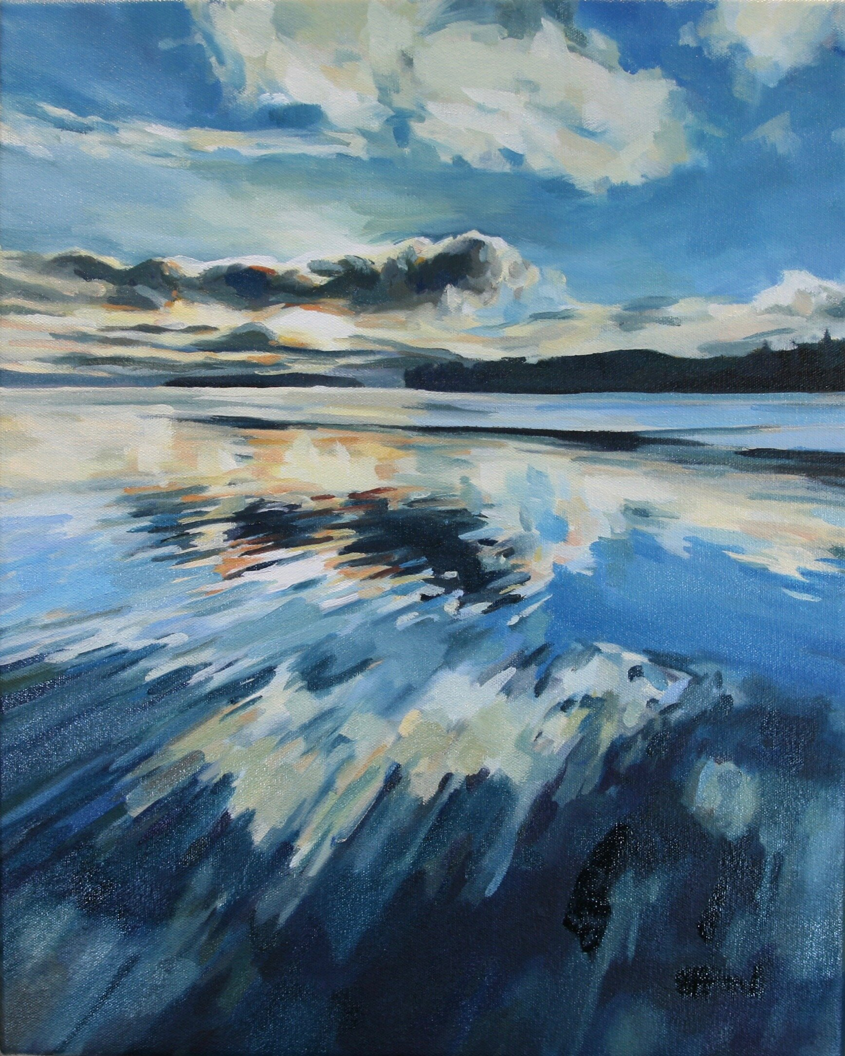 """'Totten Inlet'  2017  16"""" x 20""""  water soluble oil on canvas  sold"""