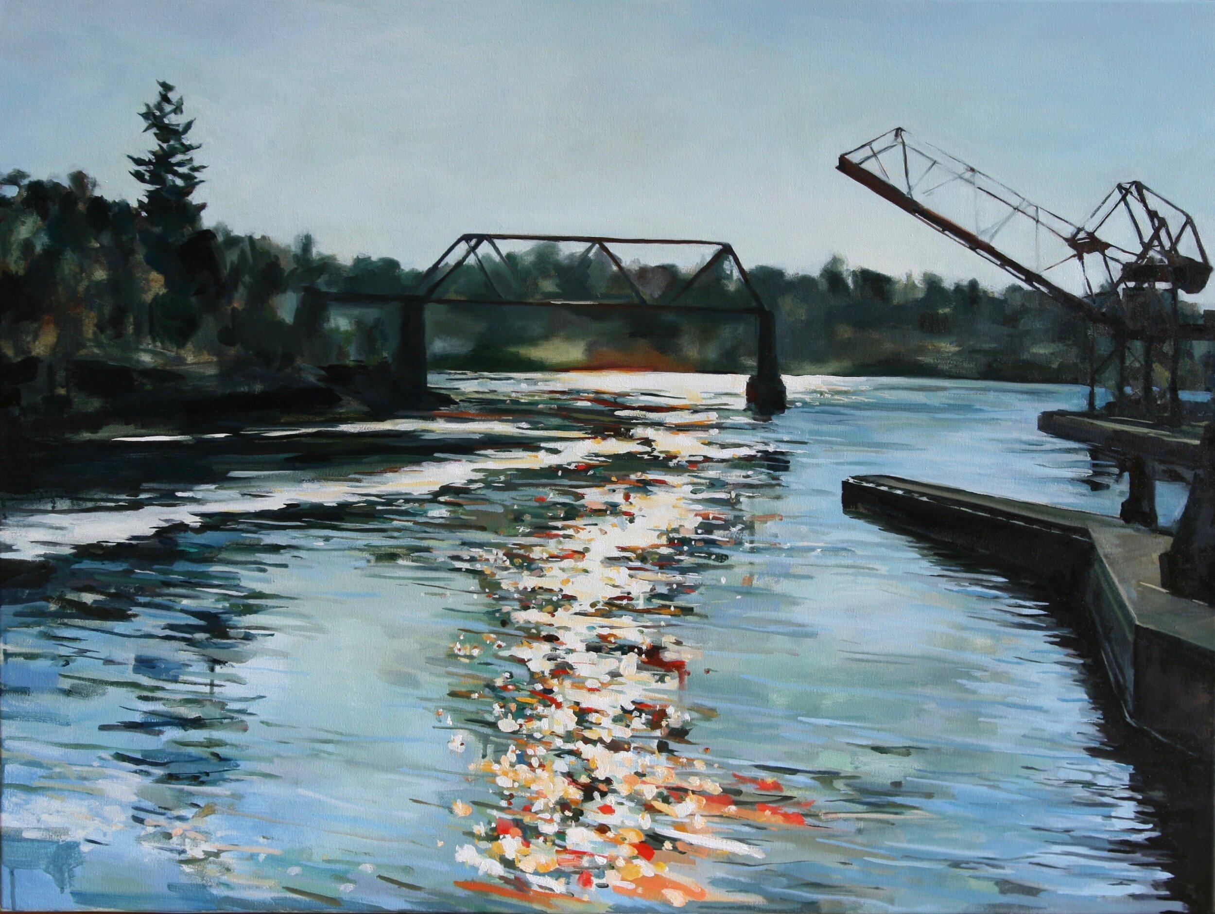 "'Ballard Locks'  2017  40"" x 30""  water soluble oil on canvas  sold"