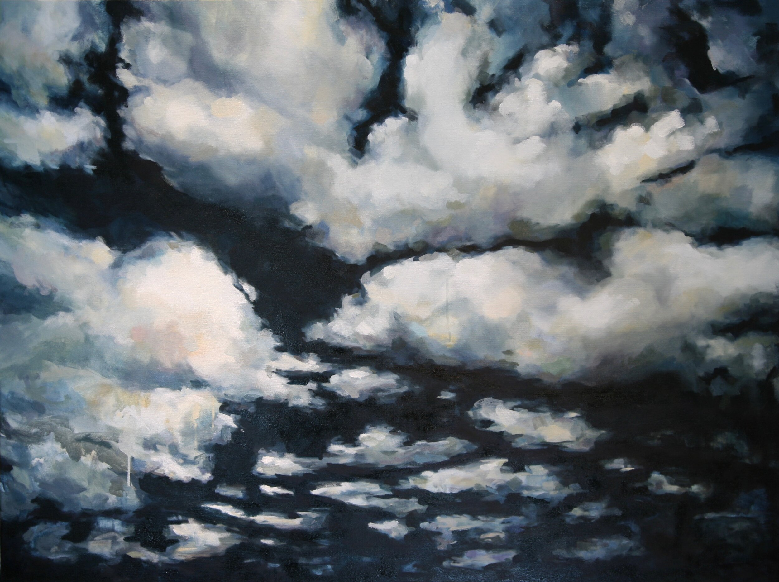 """'Night Clouds II'  2017  48"""" x 36""""  water soluble oil on canvas  sold"""