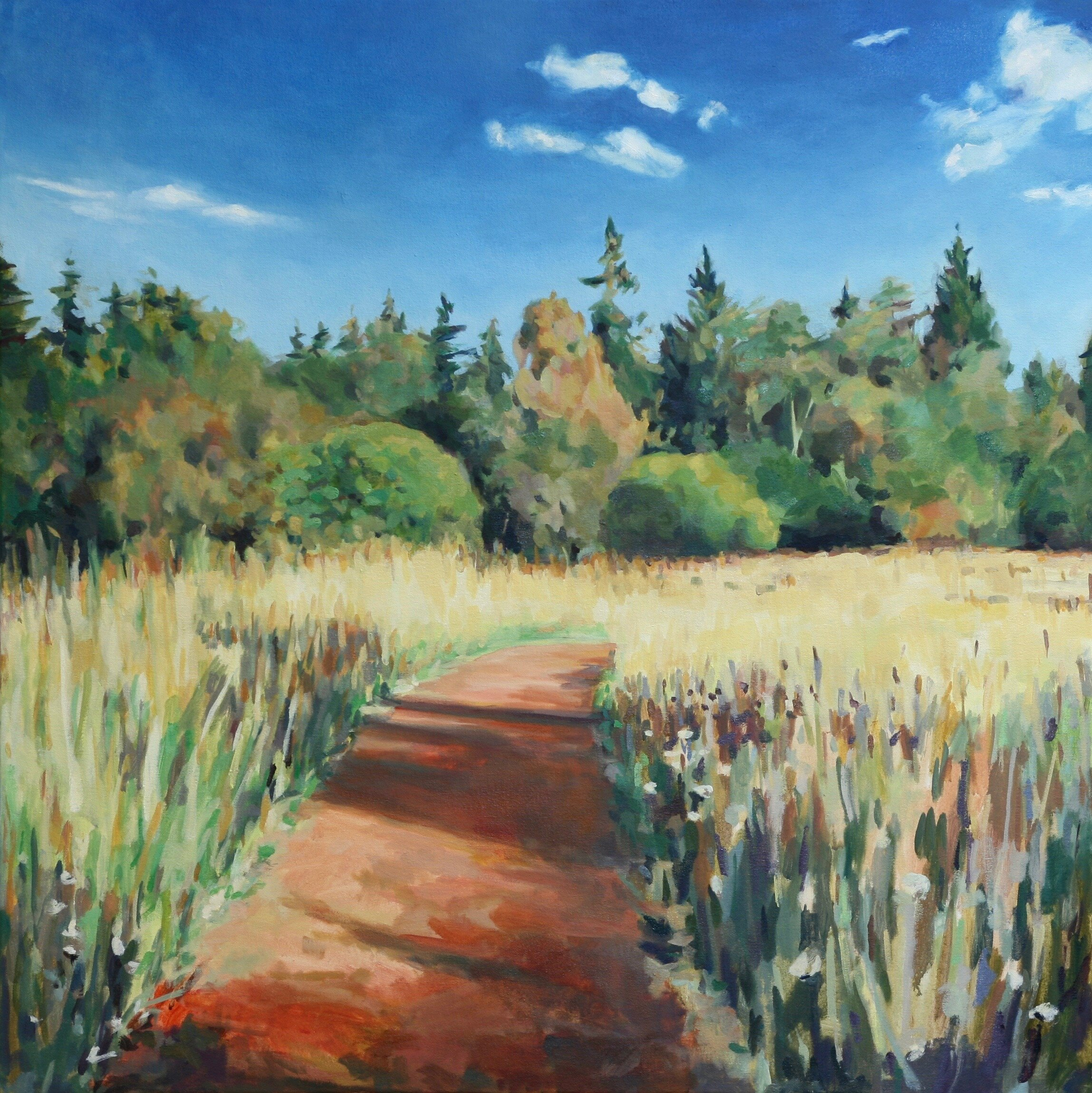 "'Meadow Path'  2016  36"" x 36""  water soluble oil on canvas  available"
