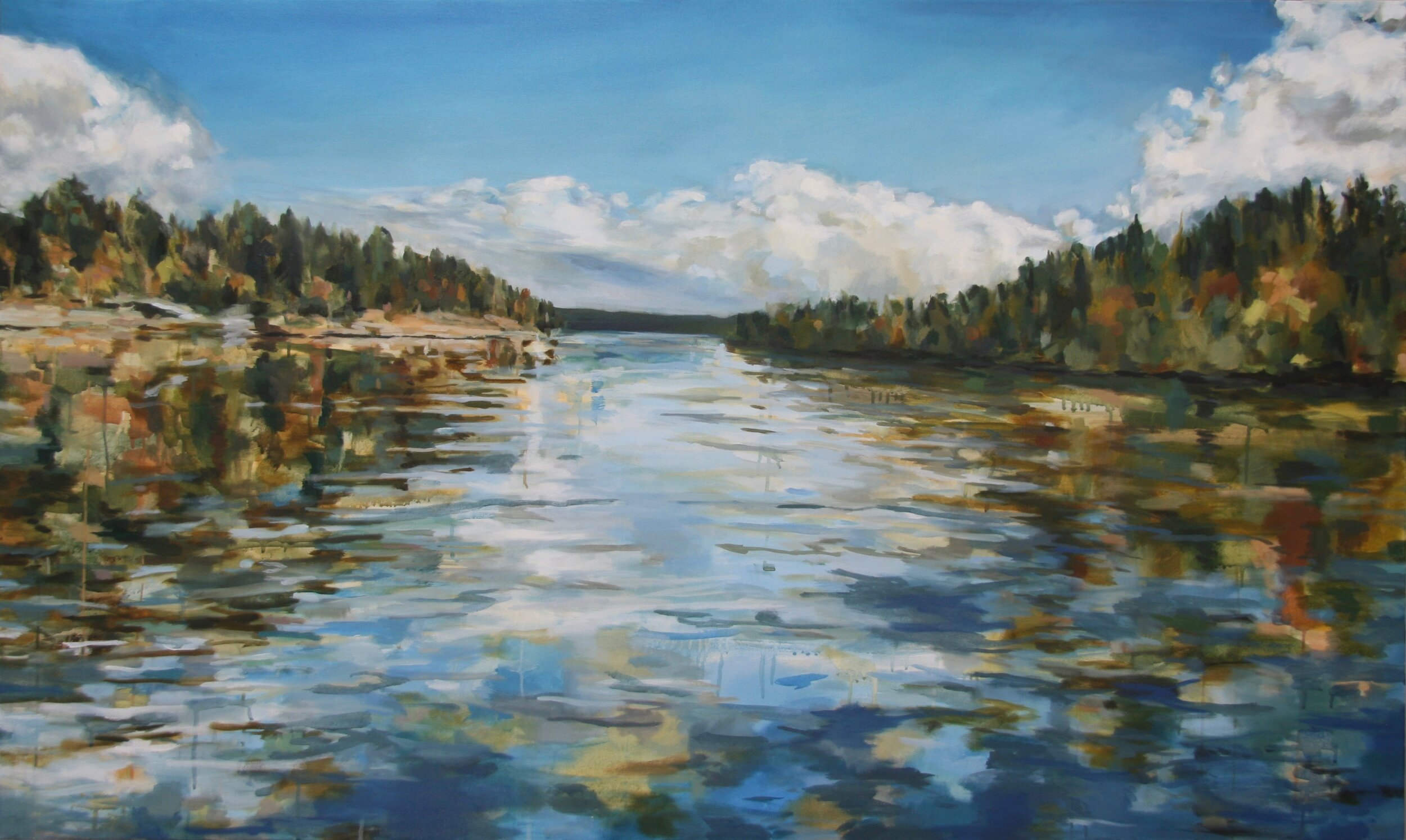 "'Willamette River'  2016  60"" x 36""  water soluble oil on canvas  sold"