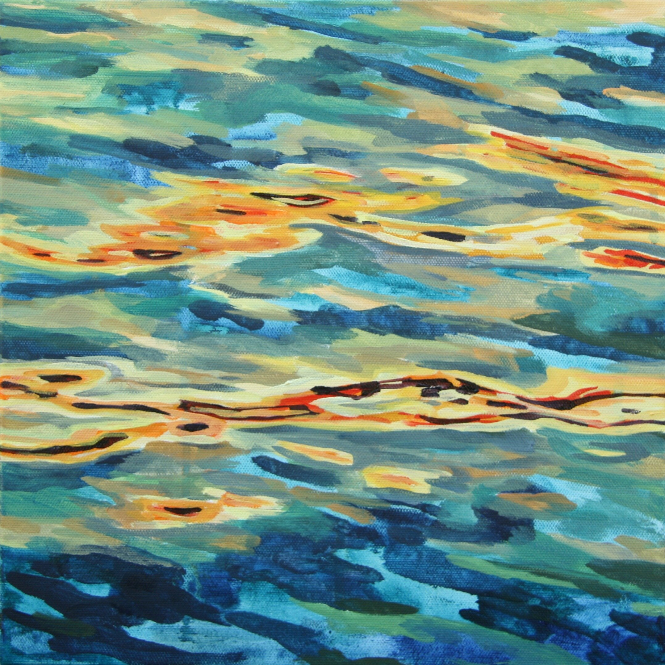 """'Stream'  2015  12"""" x 12""""  water soluble oil on canvas  sold"""