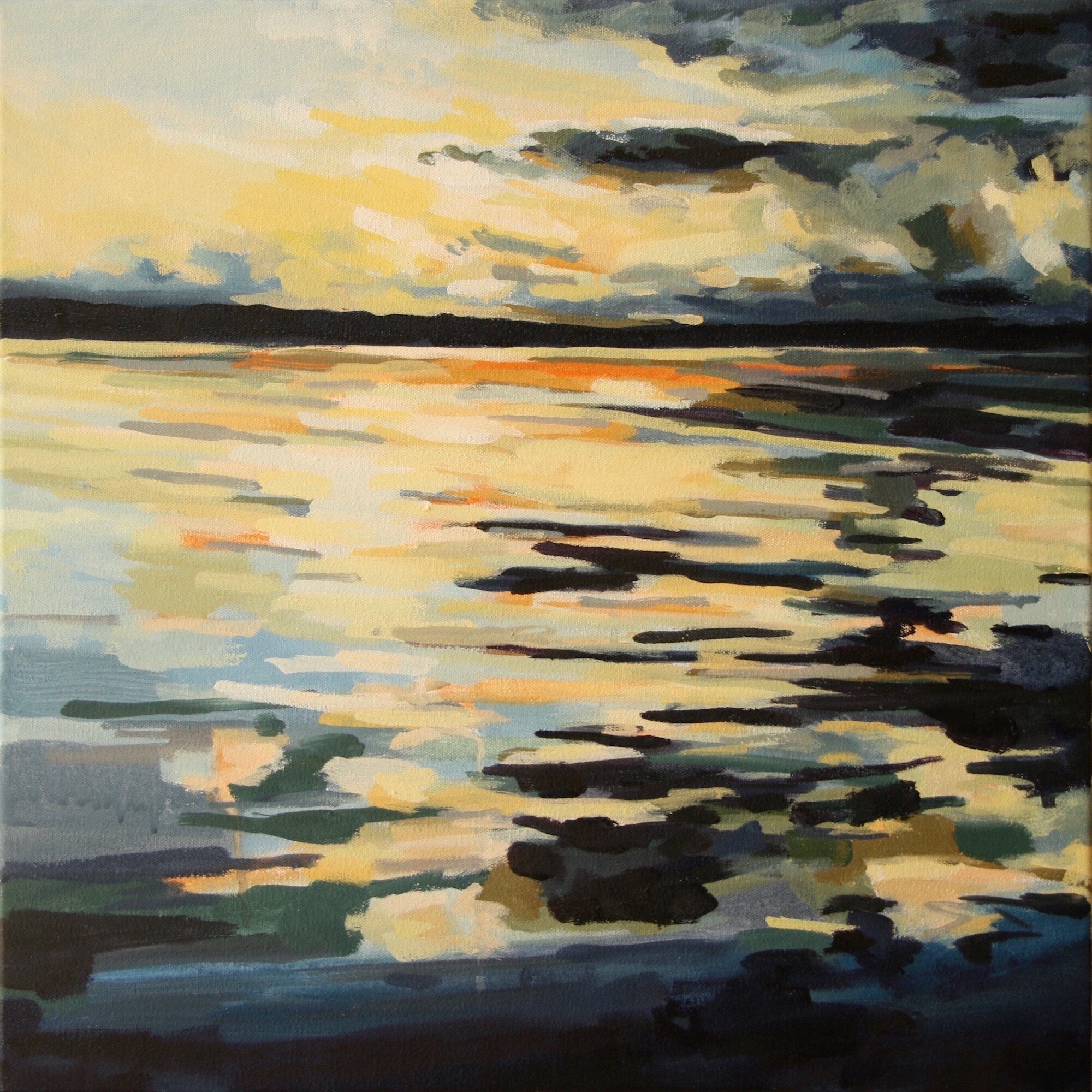 """'Mirrored Sound'  2015  20"""" x 20""""  water soluble oil on canvas  sold"""
