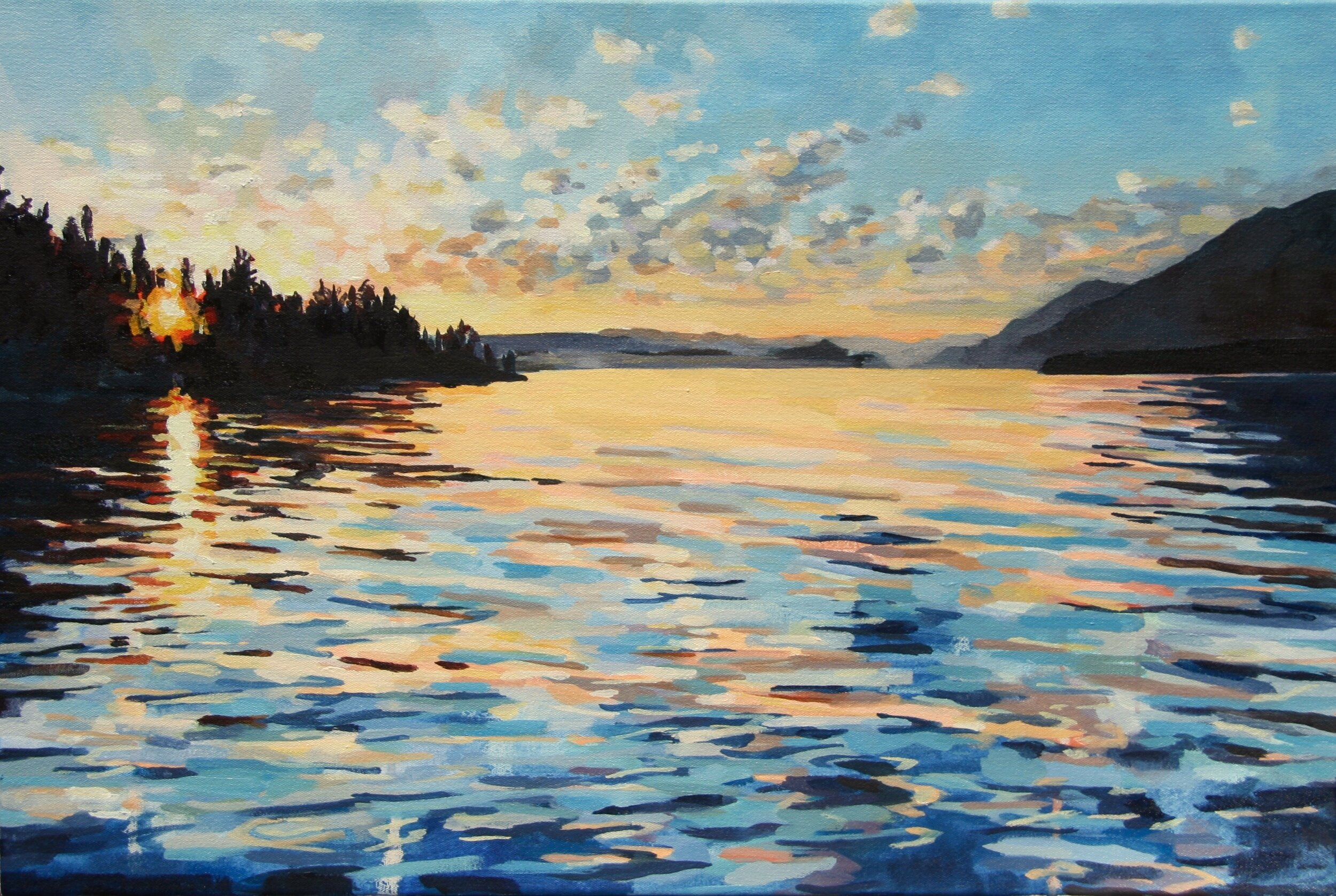 """'Lake Pend Oreille'  2015  30"""" x 20""""  water soluble oil on canvas  sold"""