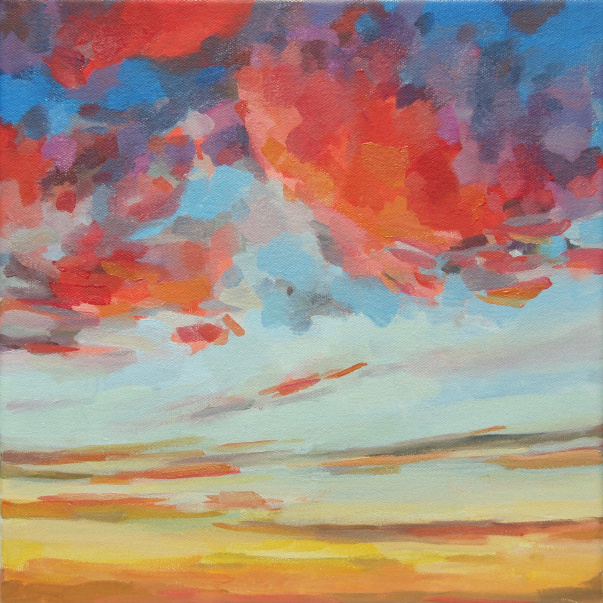 """'Sorbet Sky'  2015  12"""" x 12""""  water soluble oil on canvas  sold"""