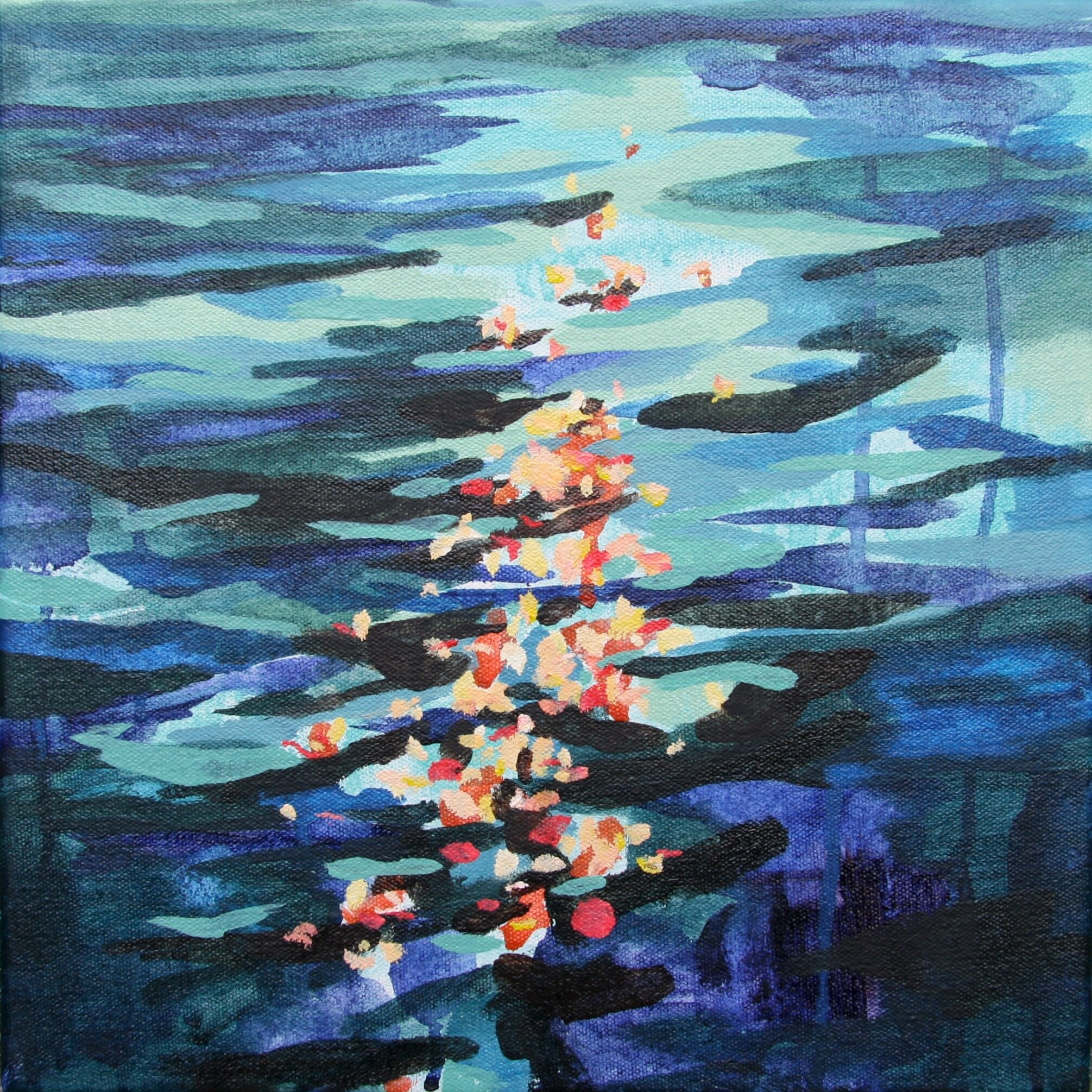 """'Float'  2014  12"""" x 12""""  water soluble oil on canvas  sold"""
