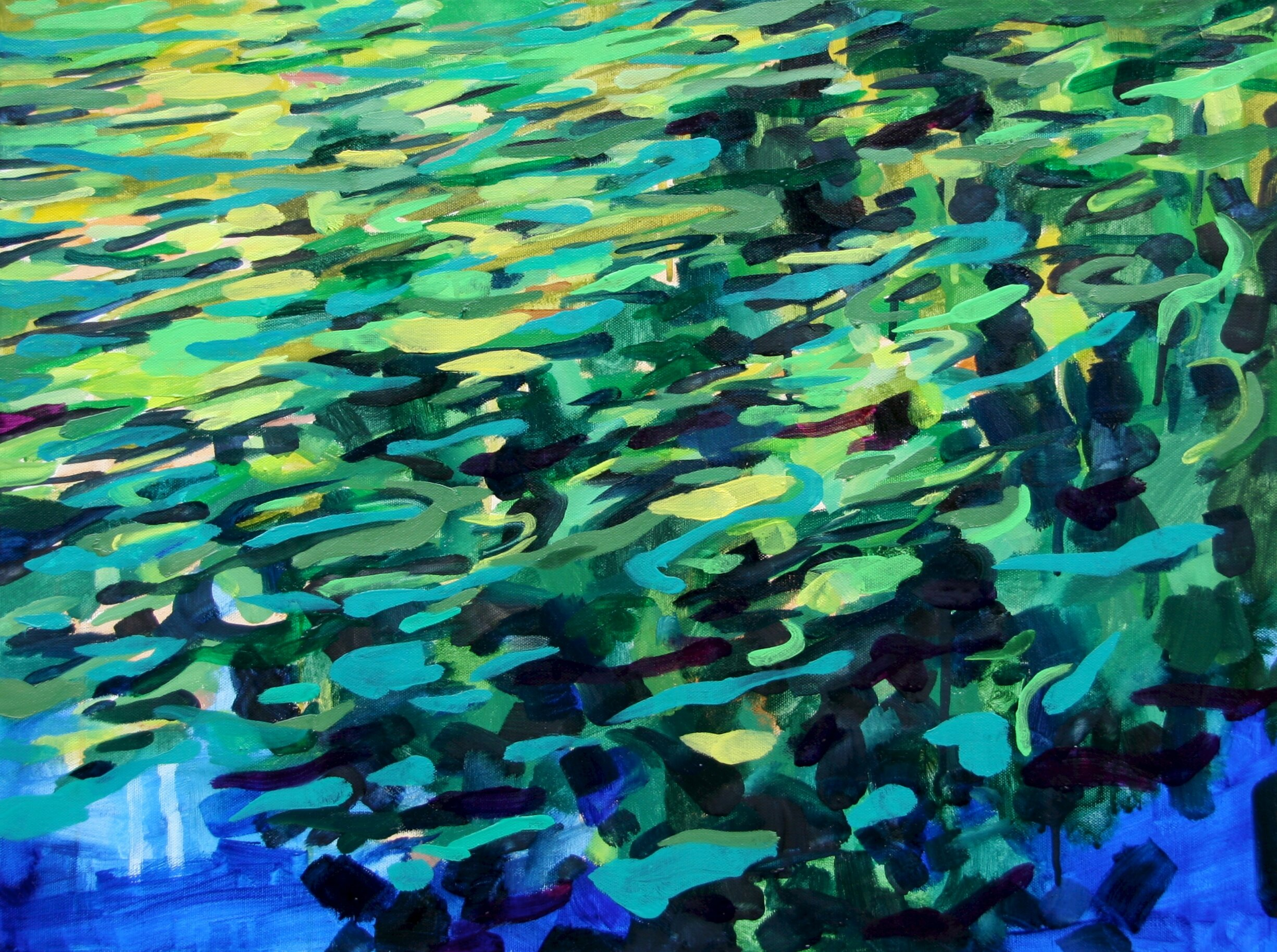 """'New Depths'  2014  24"""" x 18""""  water soluble oil on canvas  sold"""