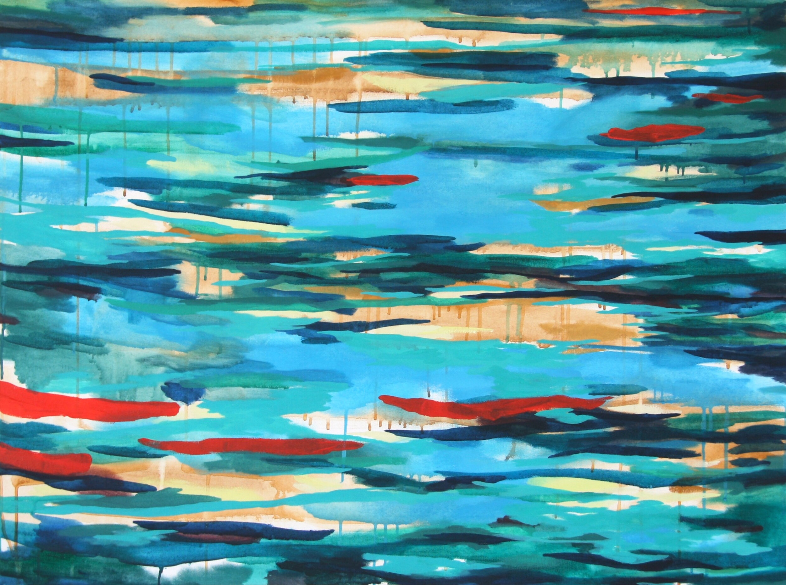 """'Lagoon'  2014  40"""" x 30""""  water soluble oil on canvas  sold"""