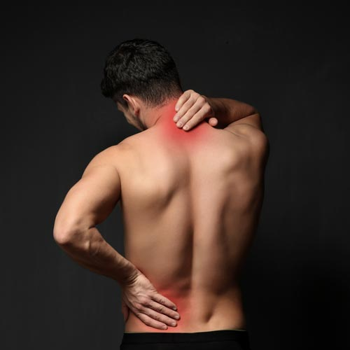 His left hand would actually be a bit lower if this were truly SI joint pain. (I couldn't find a photo that showed the right spot - they all seem to feature general low back pain instead!)