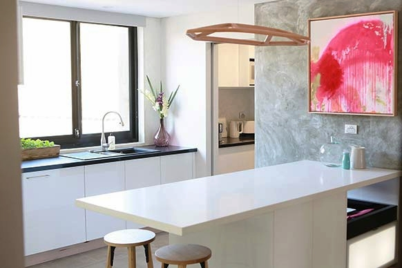 Soft timber, such as Tasmanian Oak, mix beautifully with busy renders.