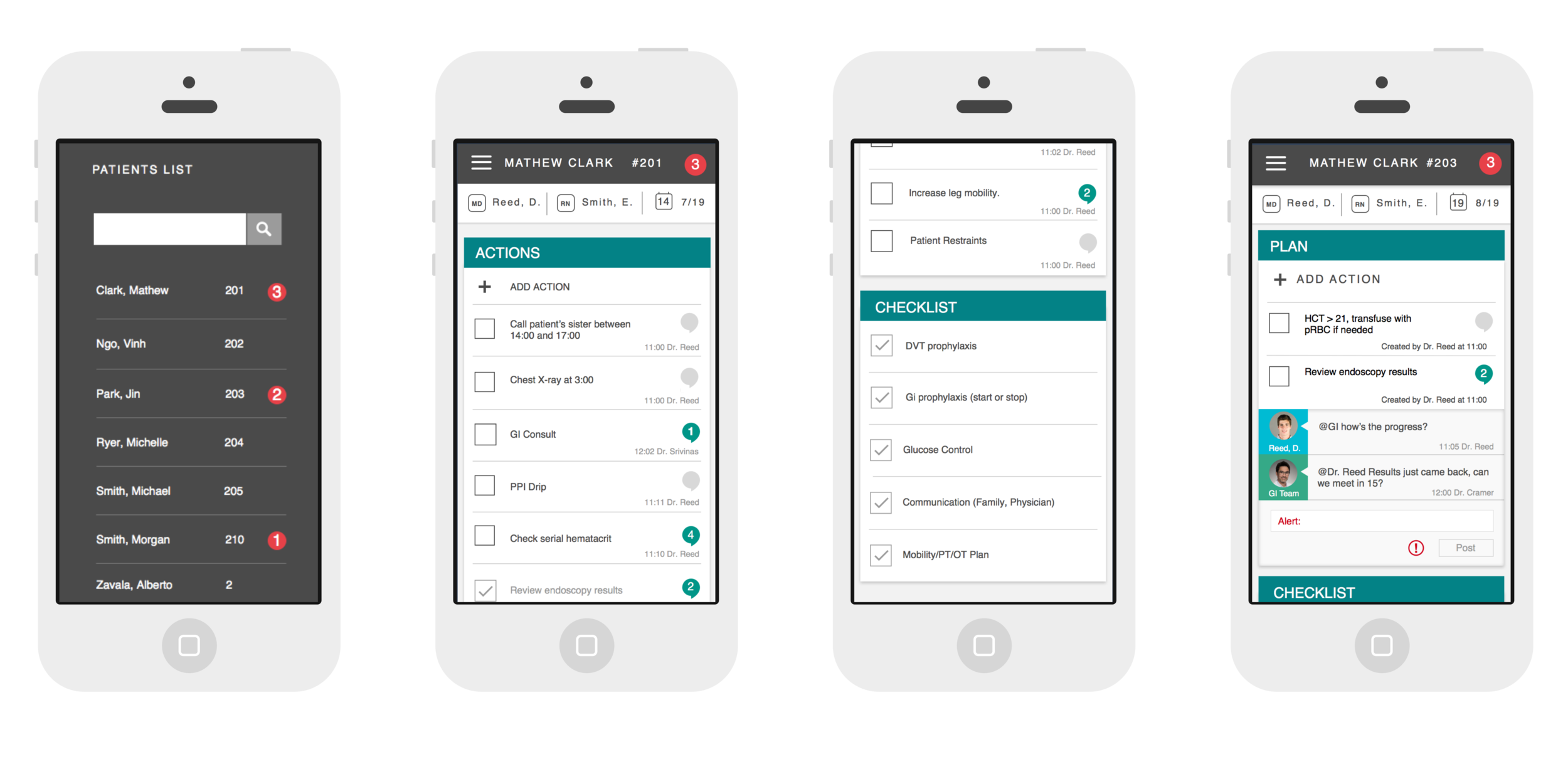 Mobile screens showing the patient selection screen, care plan, and comment view