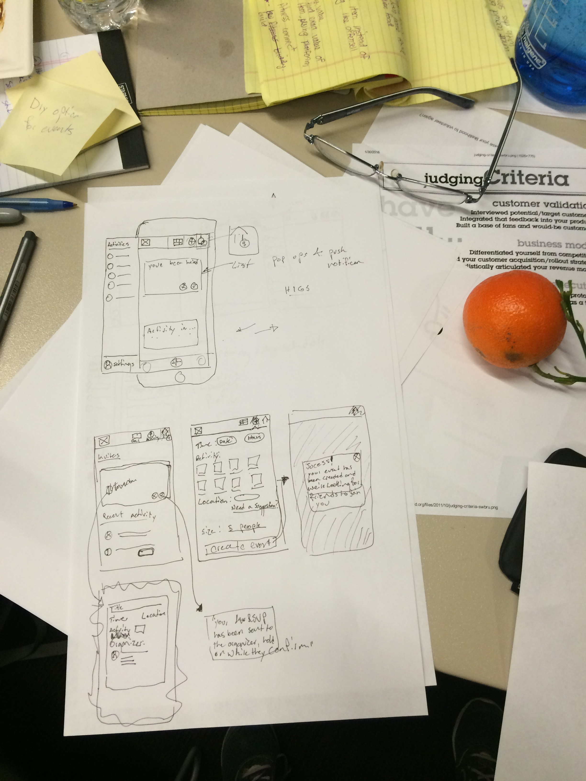 Home page, drawer menu, flow for on-boarding and setting up an account. filling out interests and an orange