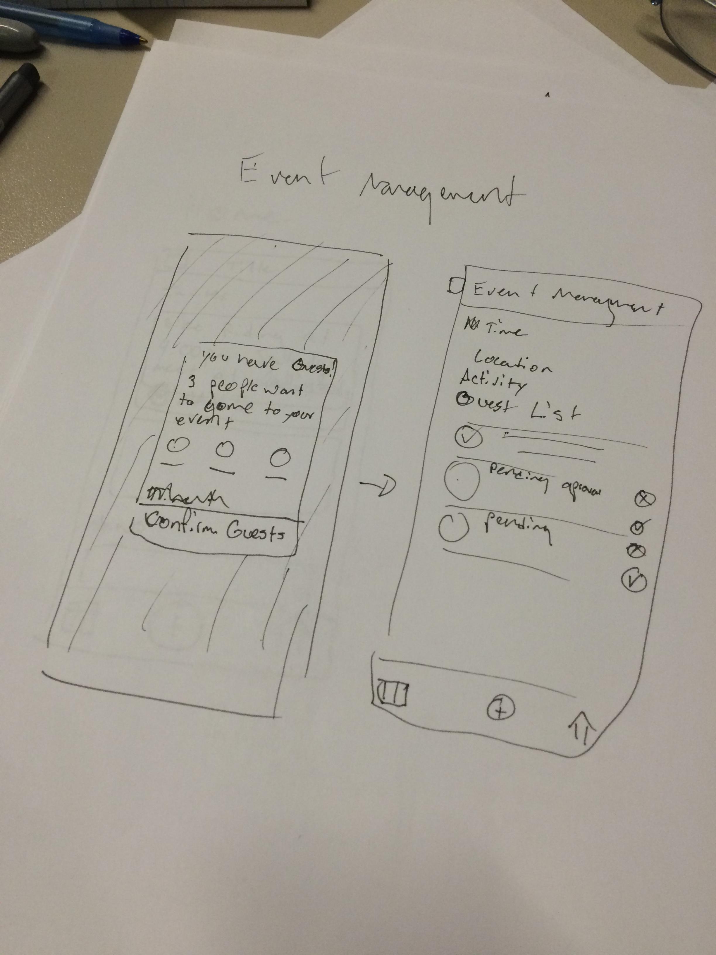 Original guest notification modal and event management screens